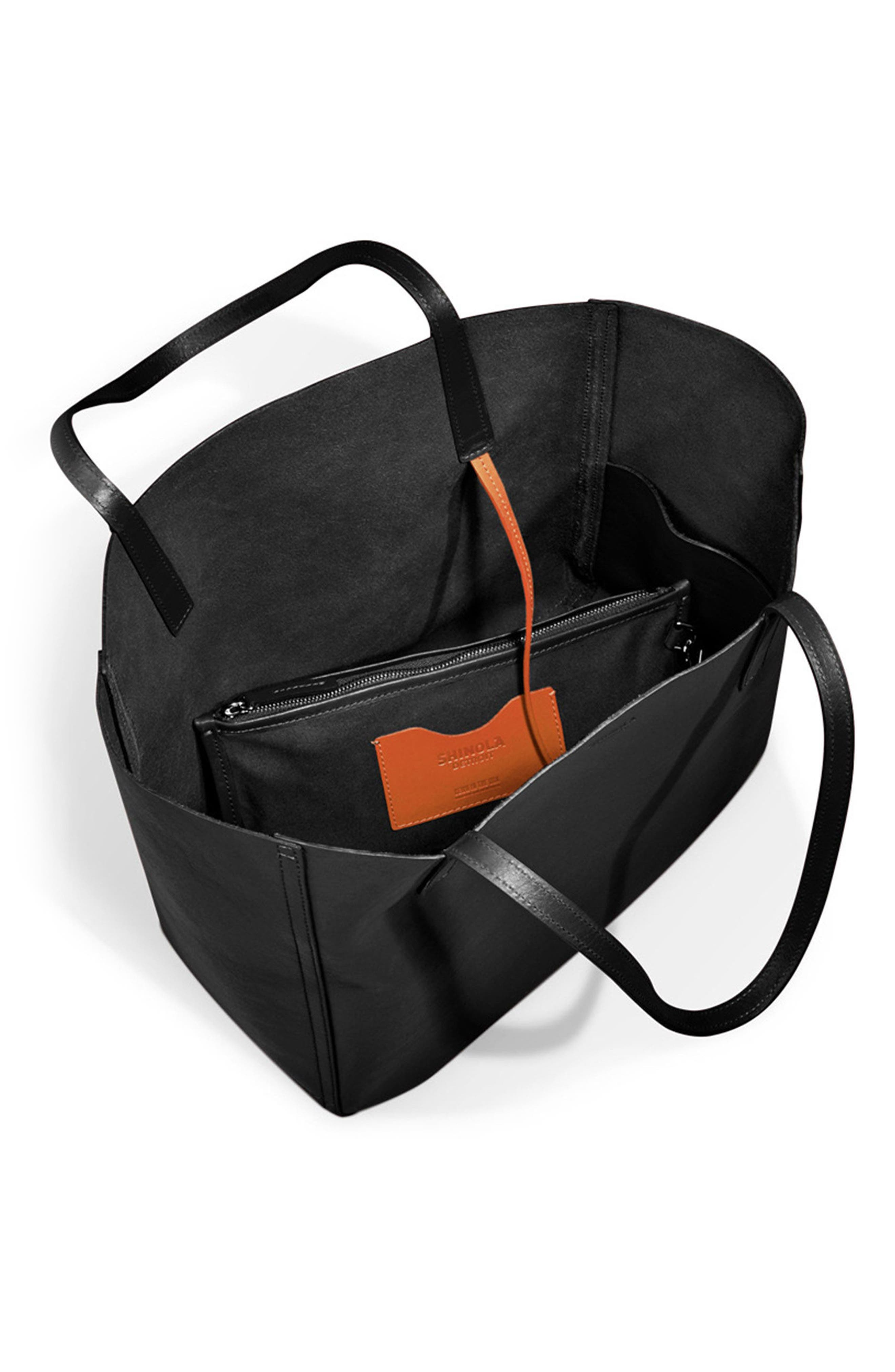 Medium Leather Shopper,                             Alternate thumbnail 3, color,                             BLACK