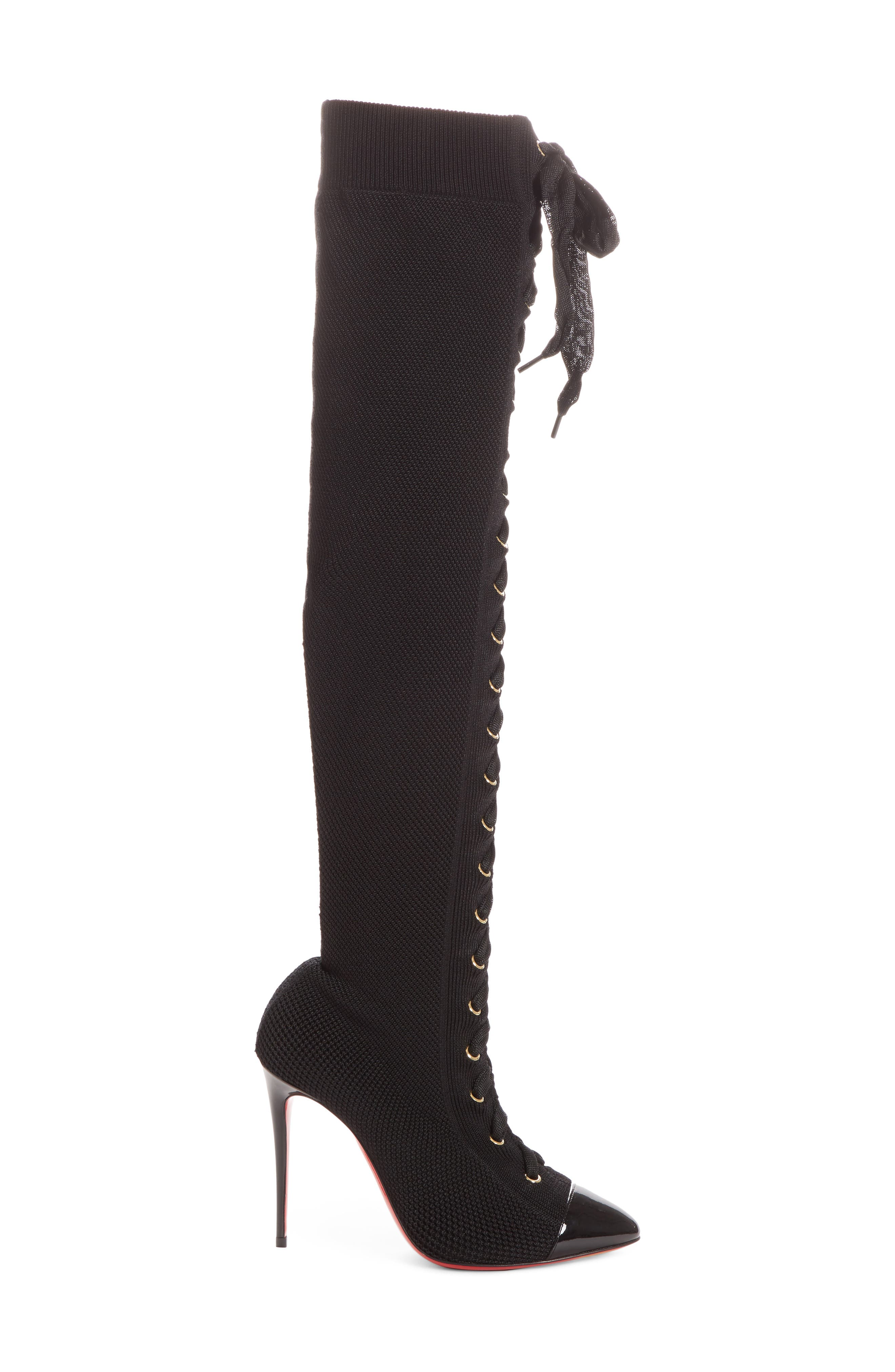 CHRISTIAN LOUBOUTIN,                             Frenchie Lace-Up Over the Knee Sock Boot,                             Alternate thumbnail 3, color,                             001