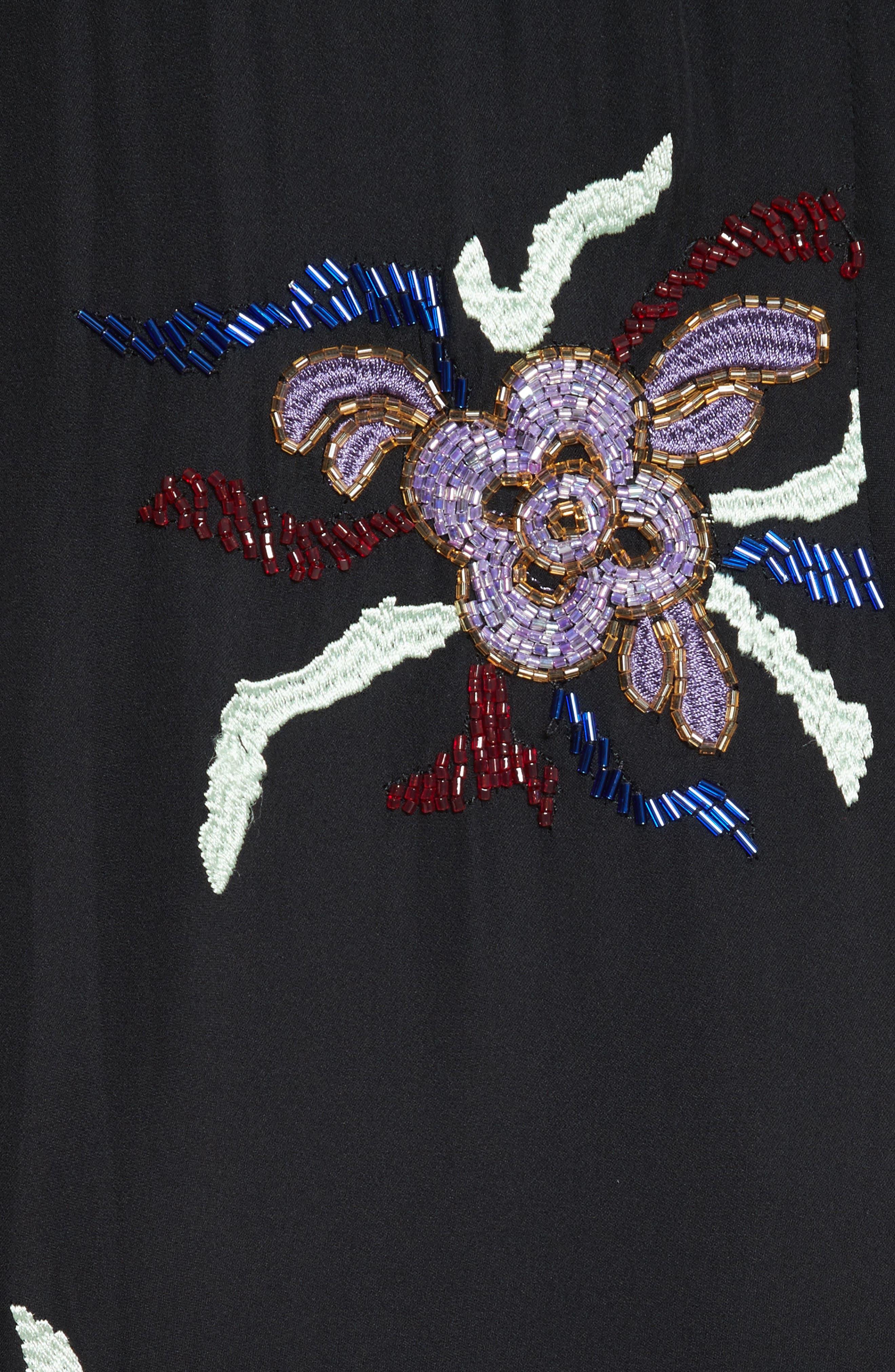 Porsca Embellished Silk Dress,                             Alternate thumbnail 5, color,                             008