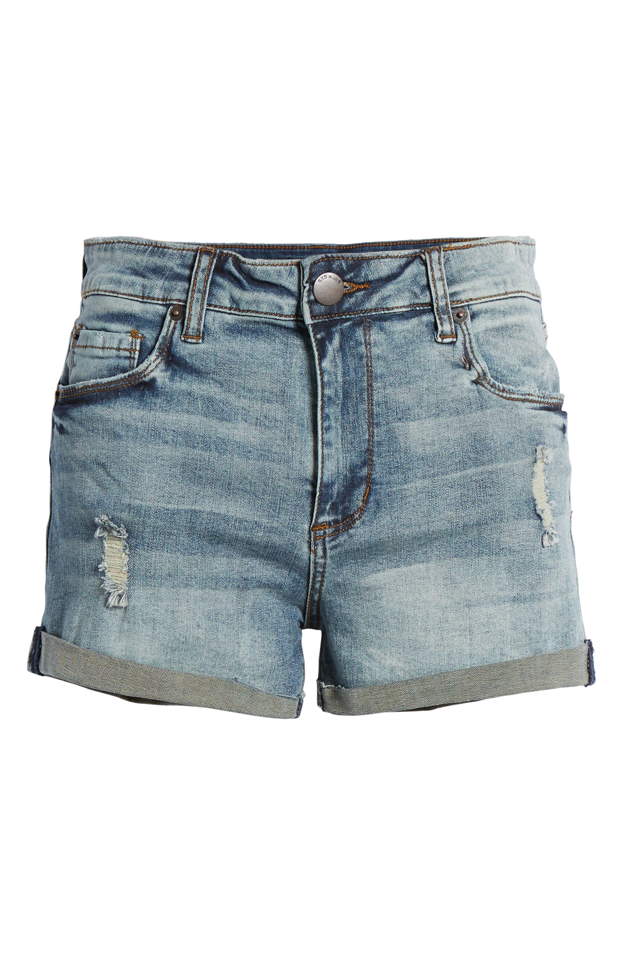 STS Blue Distressed High Waist Denim Shorts,                             Alternate thumbnail 7, color,                             RIVINDEL W/ LT BASE