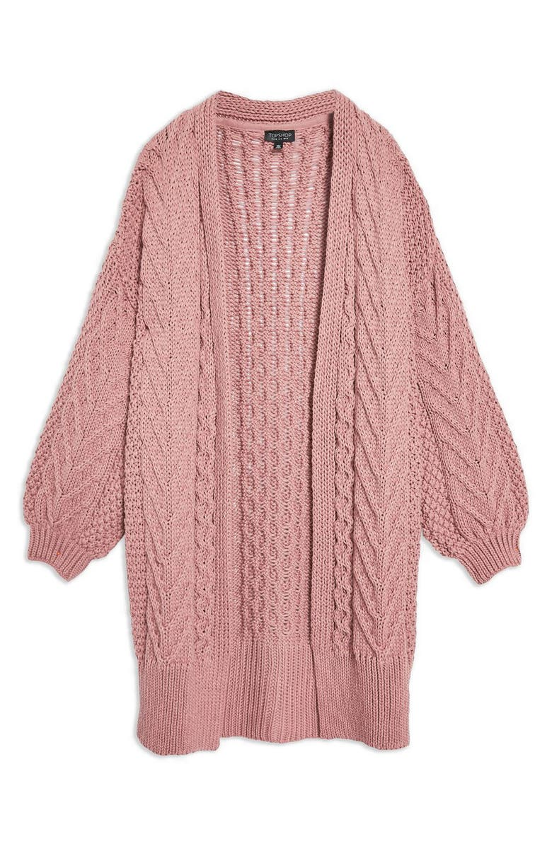 Long Open Front Cardi,                         Alternate,                         color, ROSE