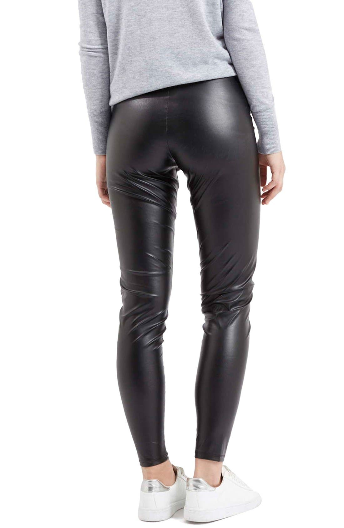 'Wet Look' Leggings,                             Alternate thumbnail 3, color,                             001