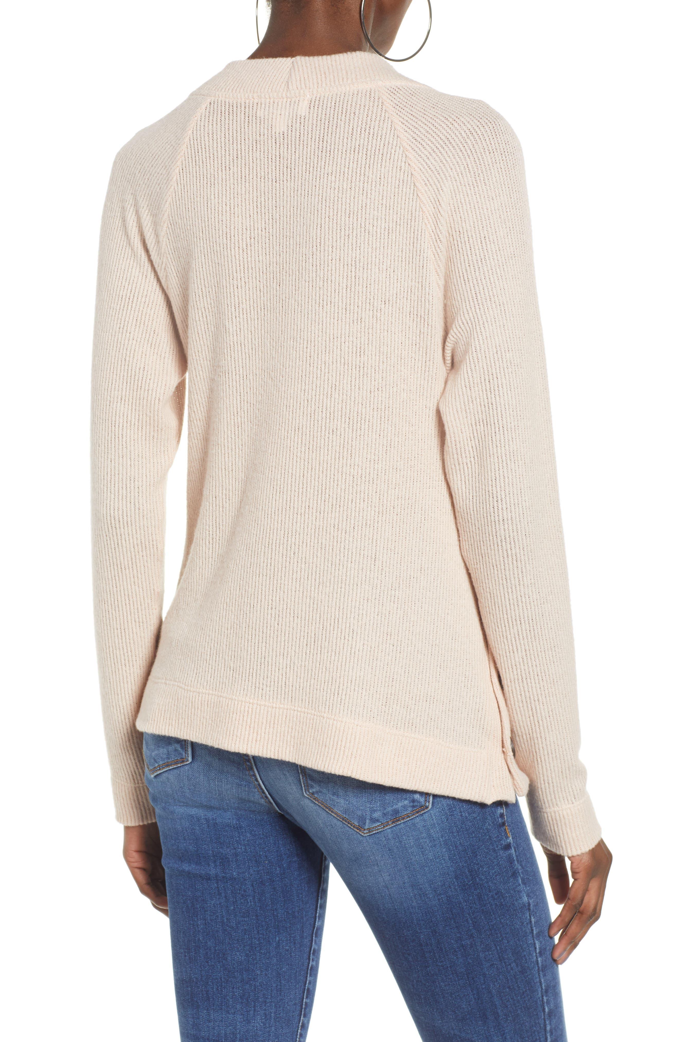 Side Button Sweater,                             Alternate thumbnail 2, color,                             BLUSH