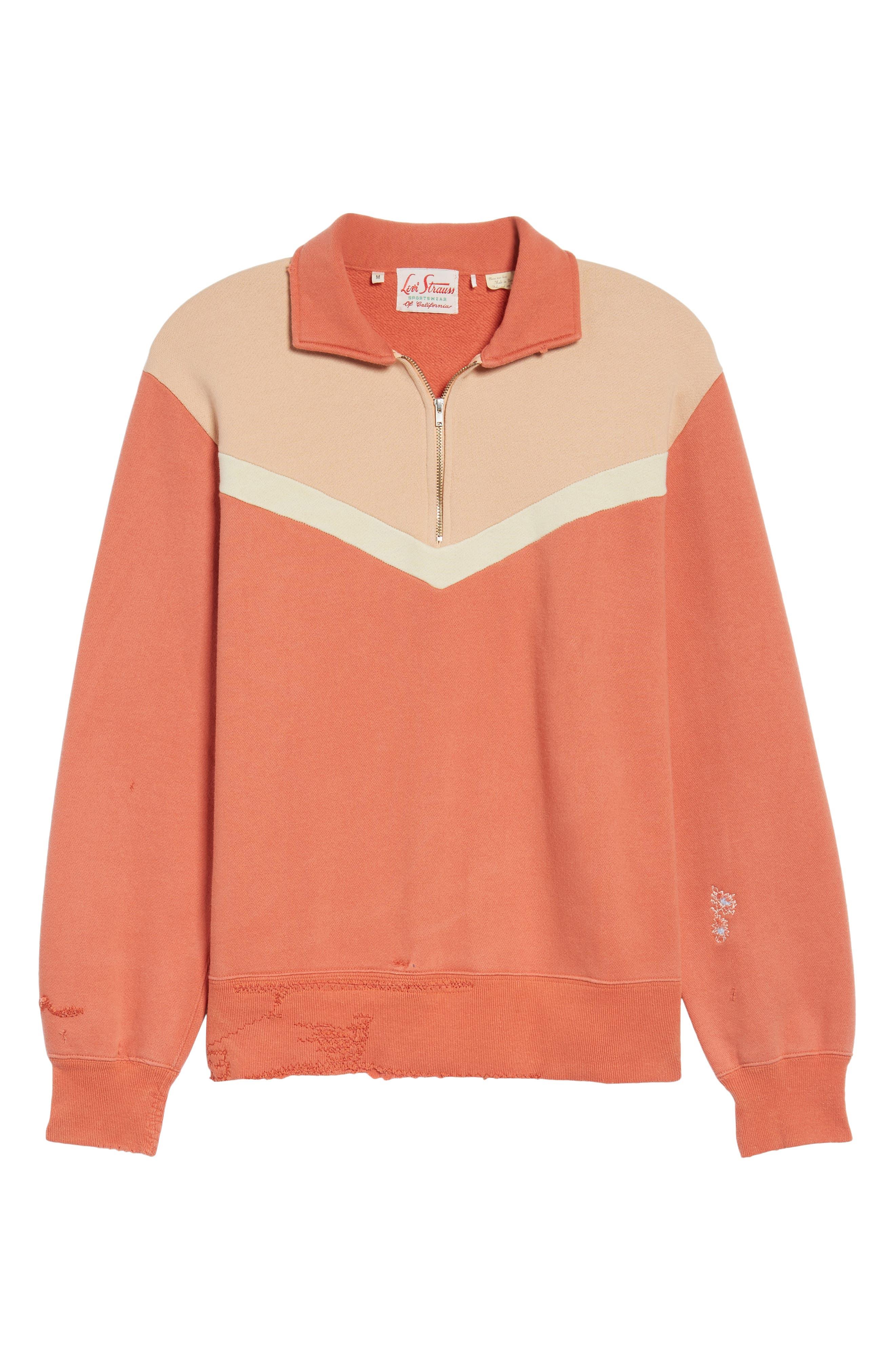 Colorblocked Quarter Zip Pullover,                             Alternate thumbnail 6, color,