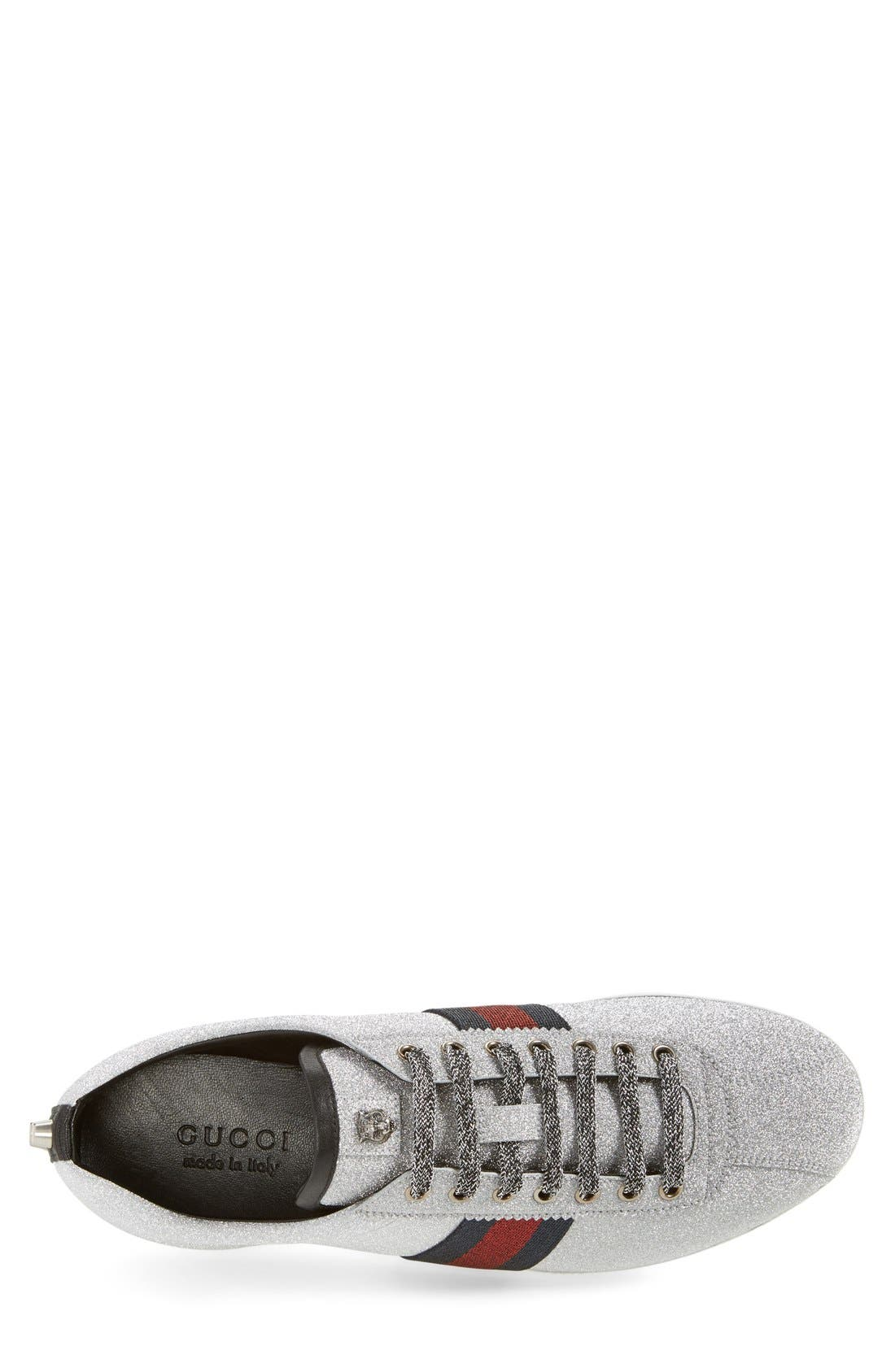 Bambi Lace-Up Sneaker,                             Alternate thumbnail 3, color,                             ARGENTO FABRIC