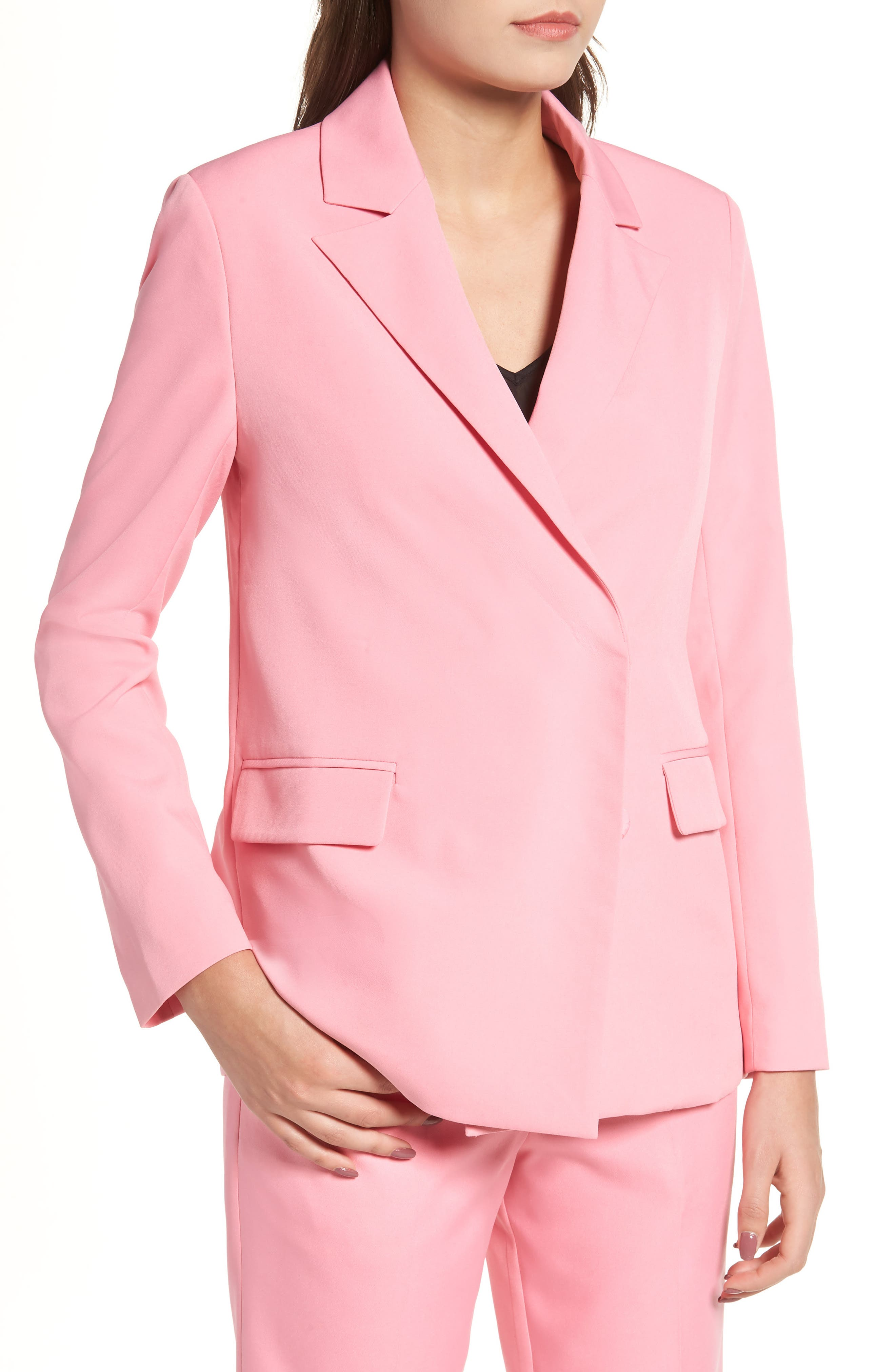 Peaked Lapel Jacket,                             Alternate thumbnail 4, color,                             CANDY PINK