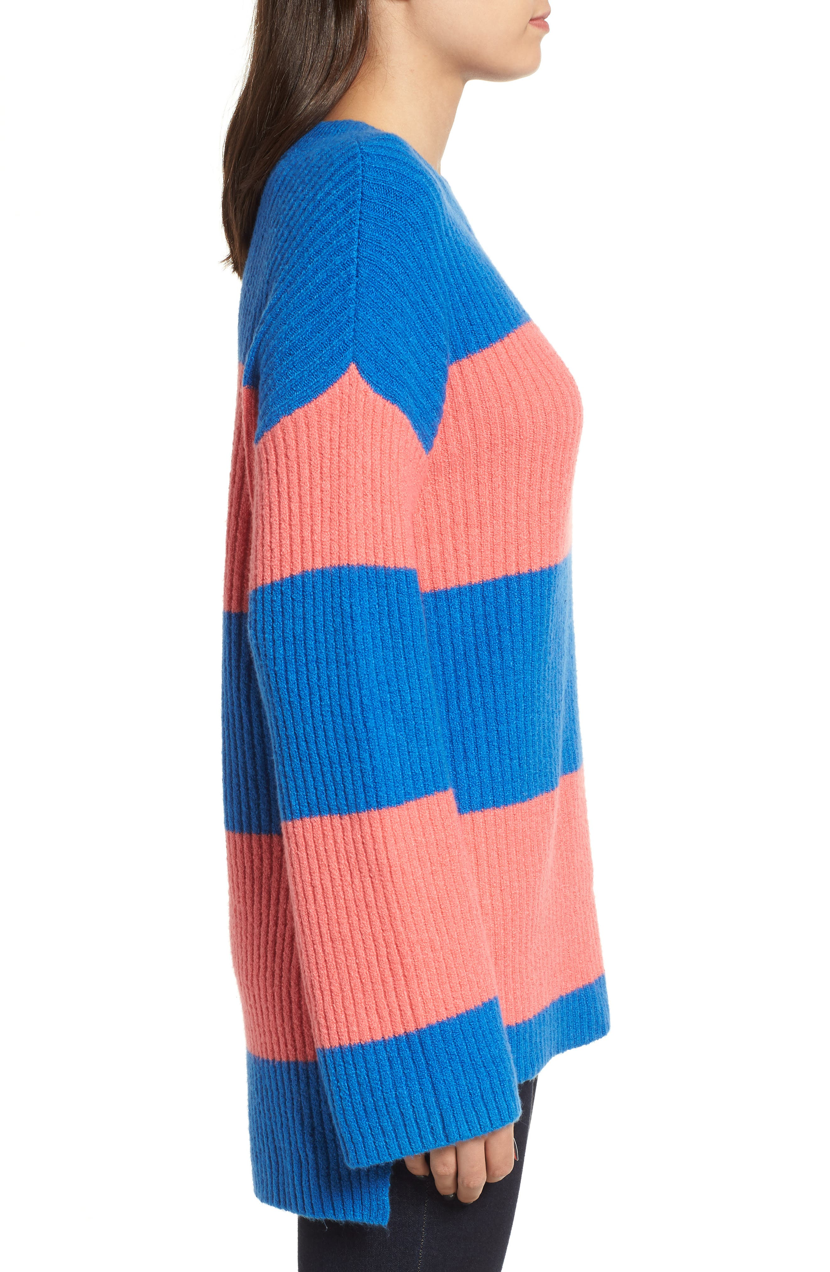 Rugby Stripe Sweater,                             Alternate thumbnail 4, color,                             BLUE BOAT COURTNEY STRIPE