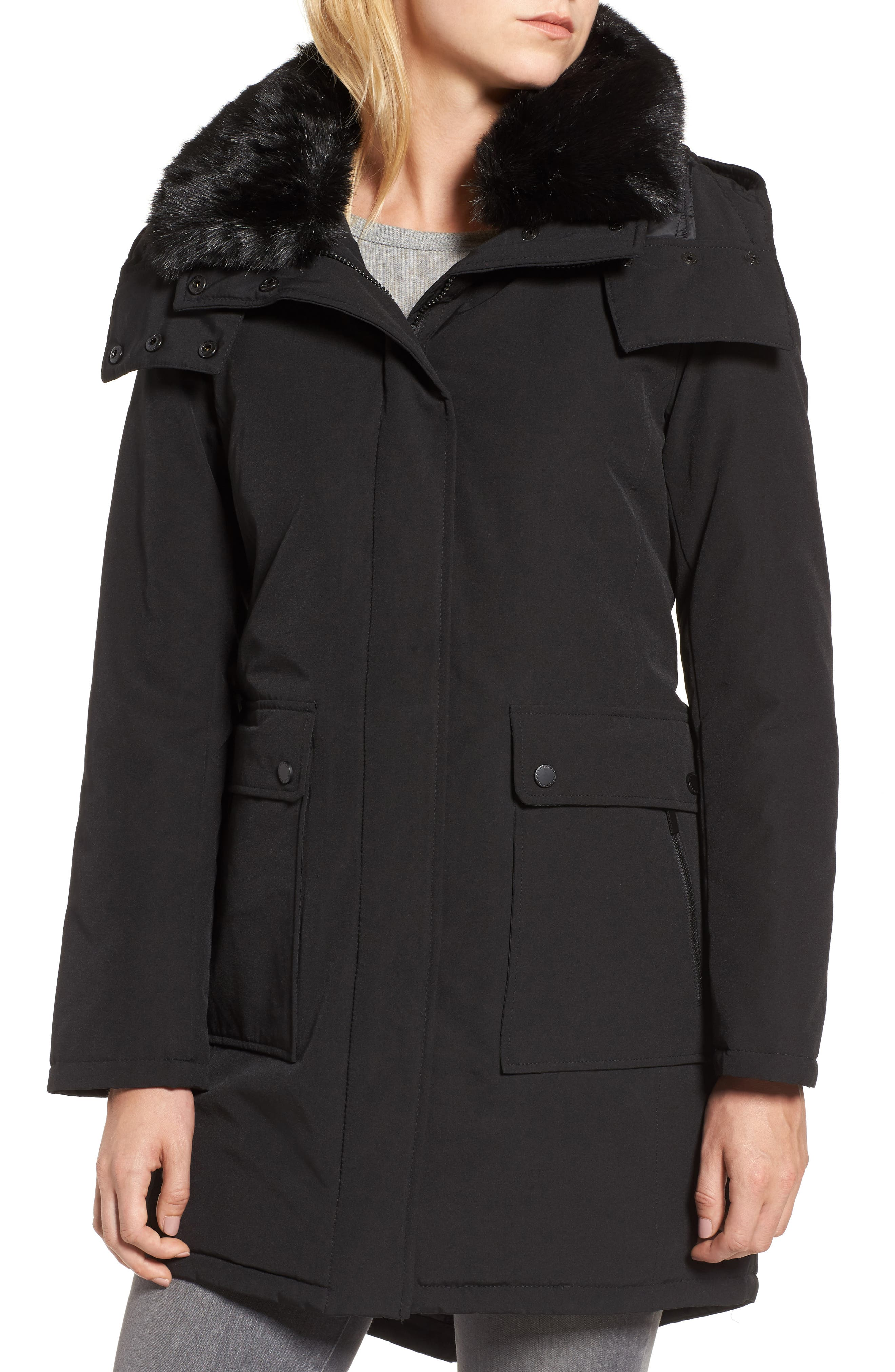 Hooded Anorak with Detachable Faux Fur Collar,                             Alternate thumbnail 4, color,                             001