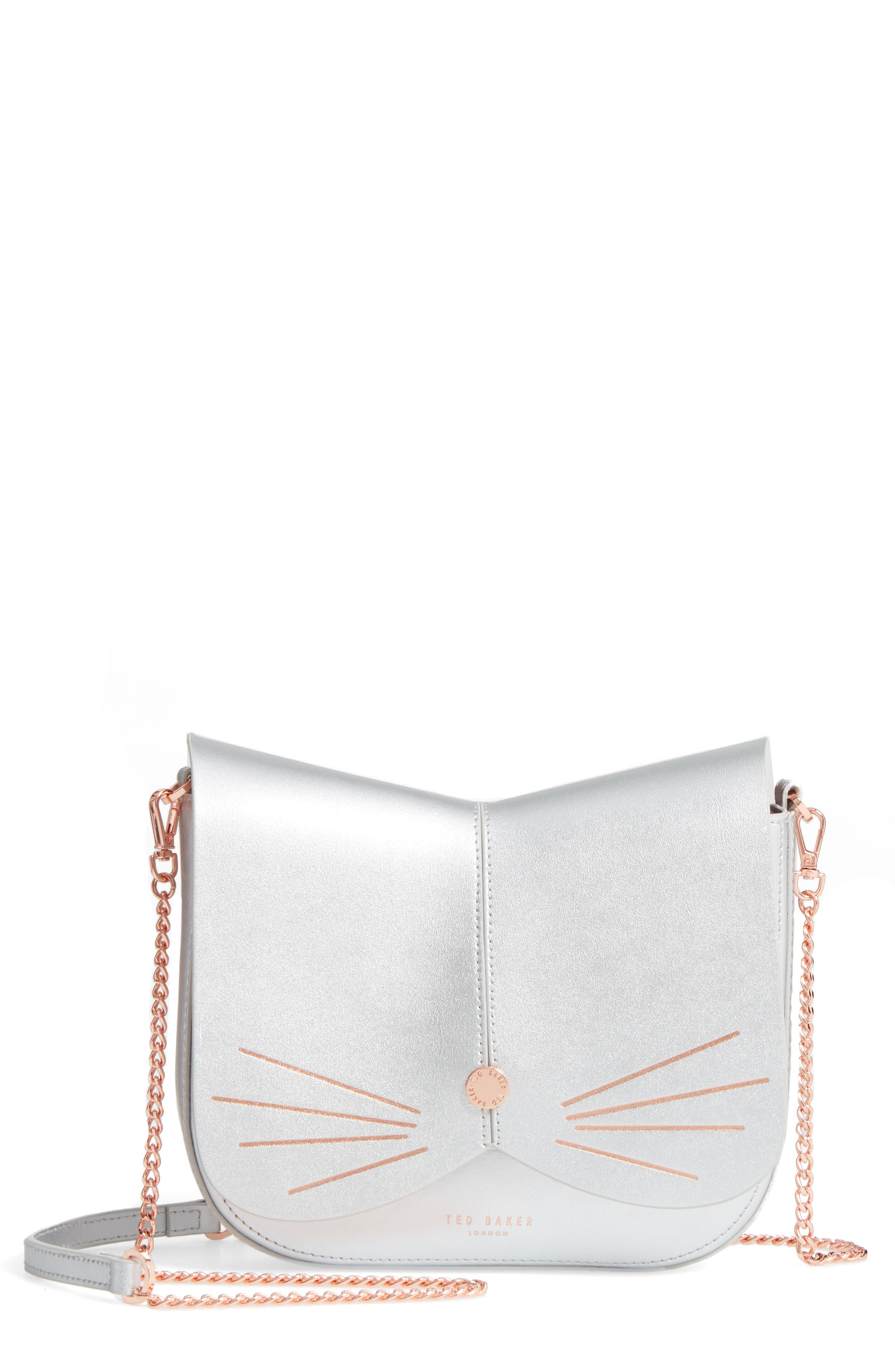 Kittii Cat Leather Crossbody Bag,                             Main thumbnail 2, color,
