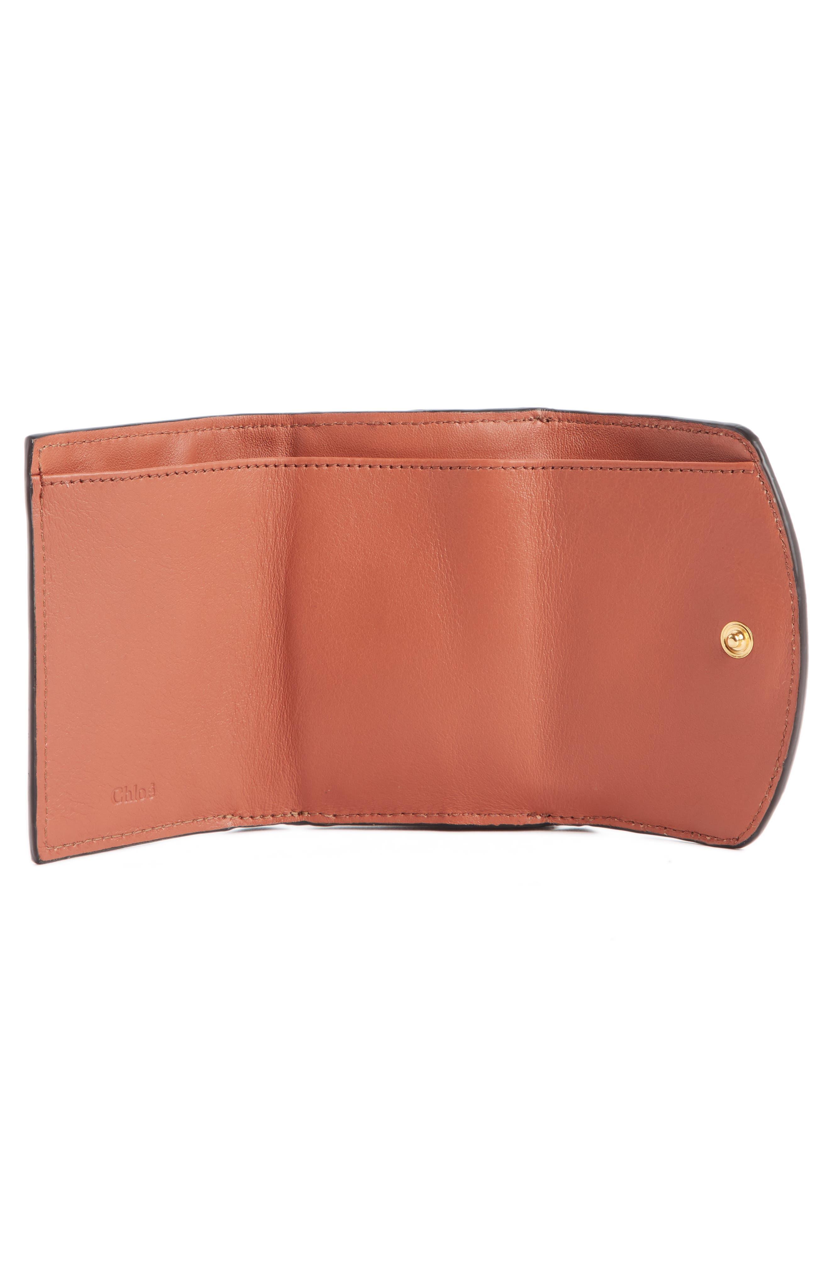 CHLOÉ,                             Mini-C Croc Embossed Leather Wallet,                             Alternate thumbnail 2, color,                             CHESTNUT BROWN