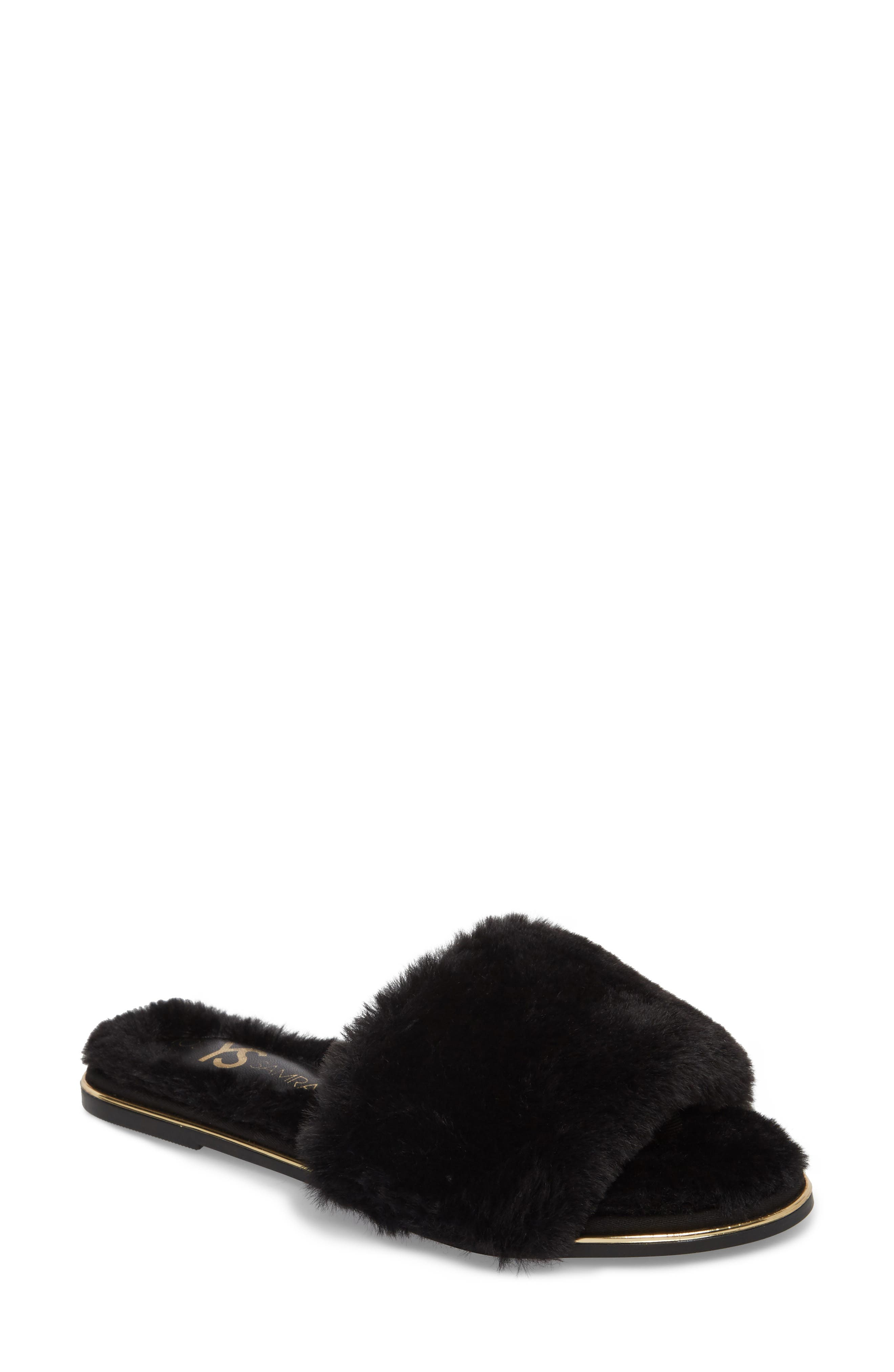 Rose Faux Fur Slide Sandal,                             Main thumbnail 1, color,                             BLACK FAUX FUR