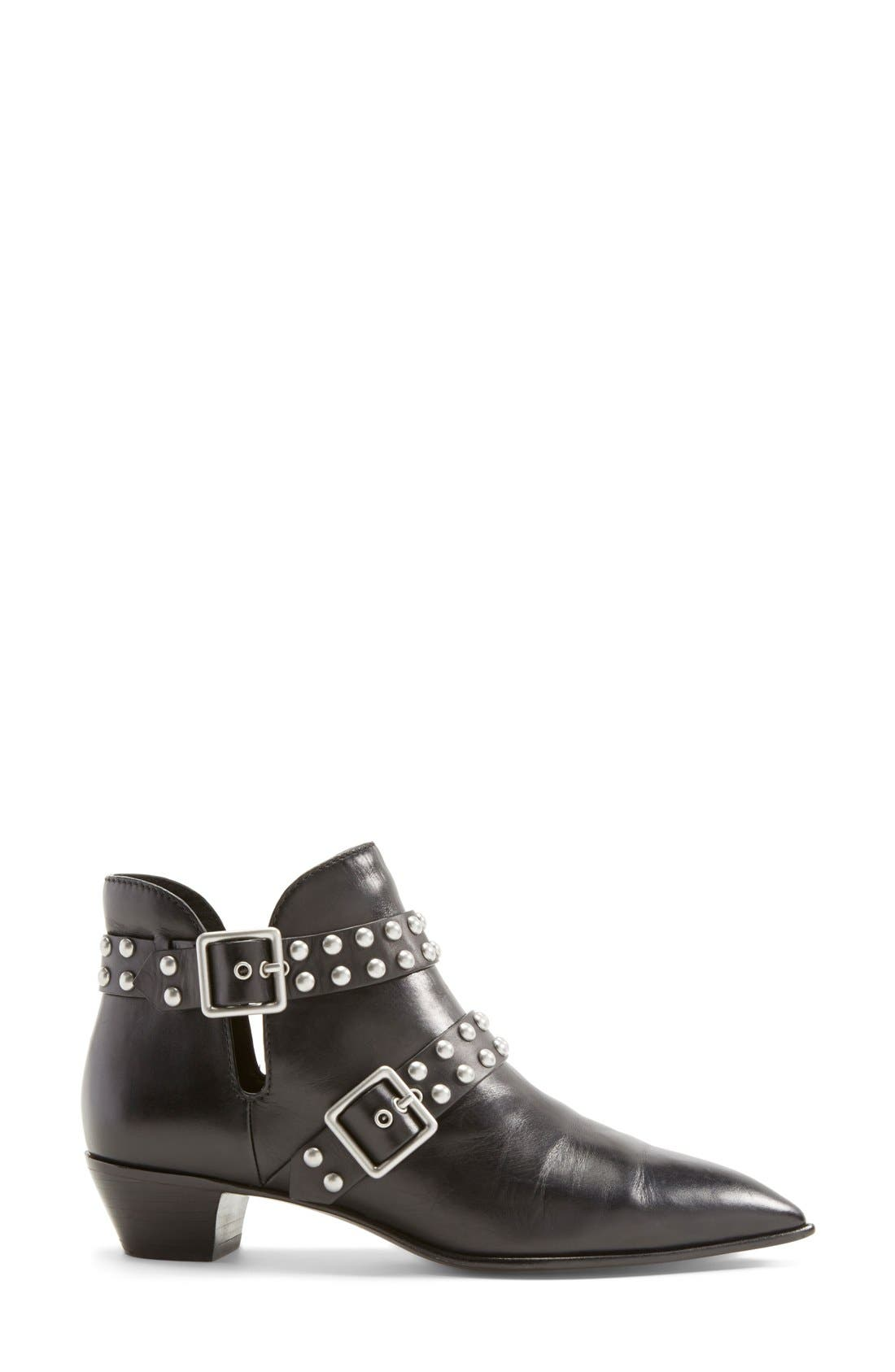 MARC BY MARC JACOBS 'Carroll' Studded Leather Pointy Toe Ankle Boot,                             Alternate thumbnail 6, color,                             001