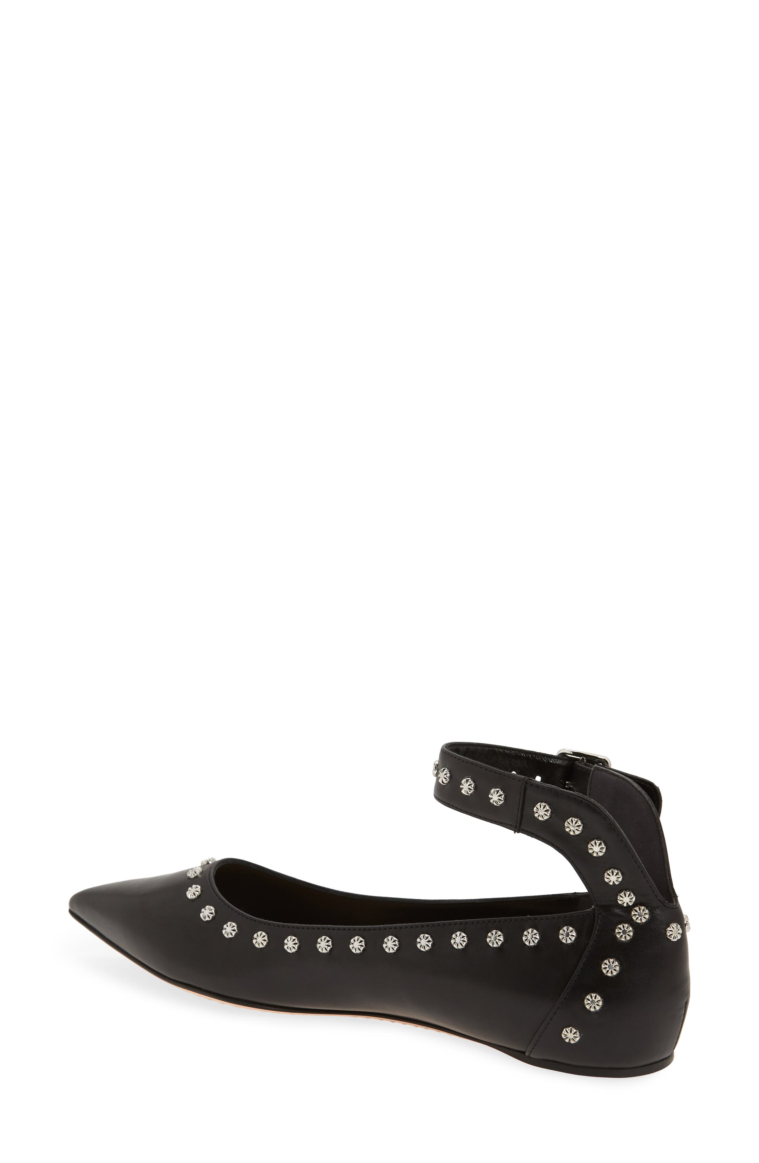 Studded Ankle Strap Flat,                             Alternate thumbnail 2, color,                             001