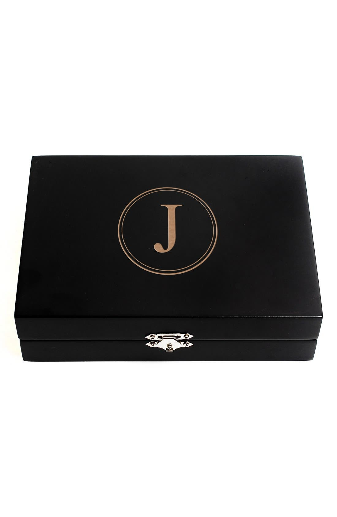 Monogram Wooden Jewelry Box,                             Main thumbnail 12, color,