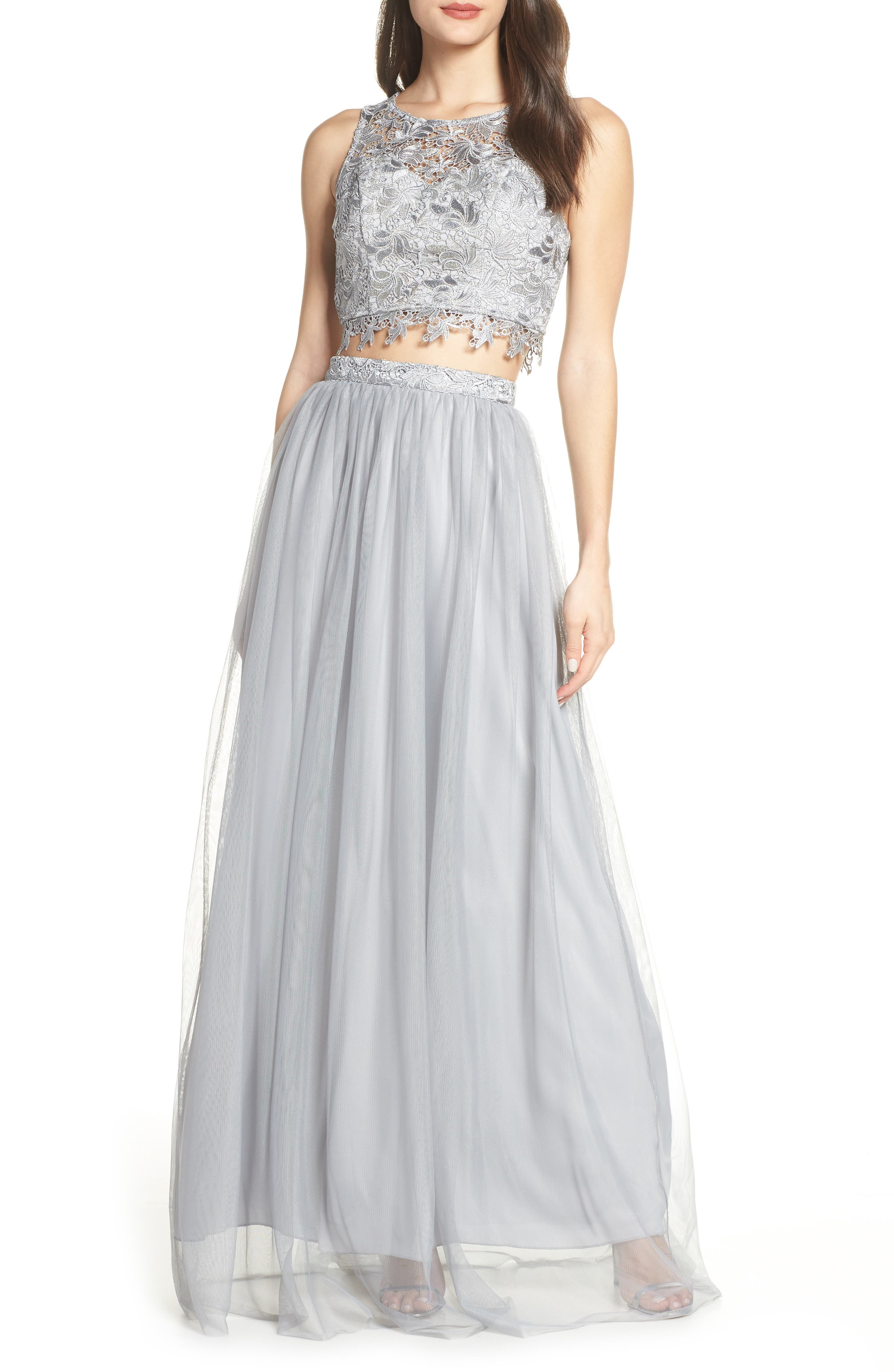 Sequin Hearts Lace & Tulle Two-Piece Evening Dress, Grey