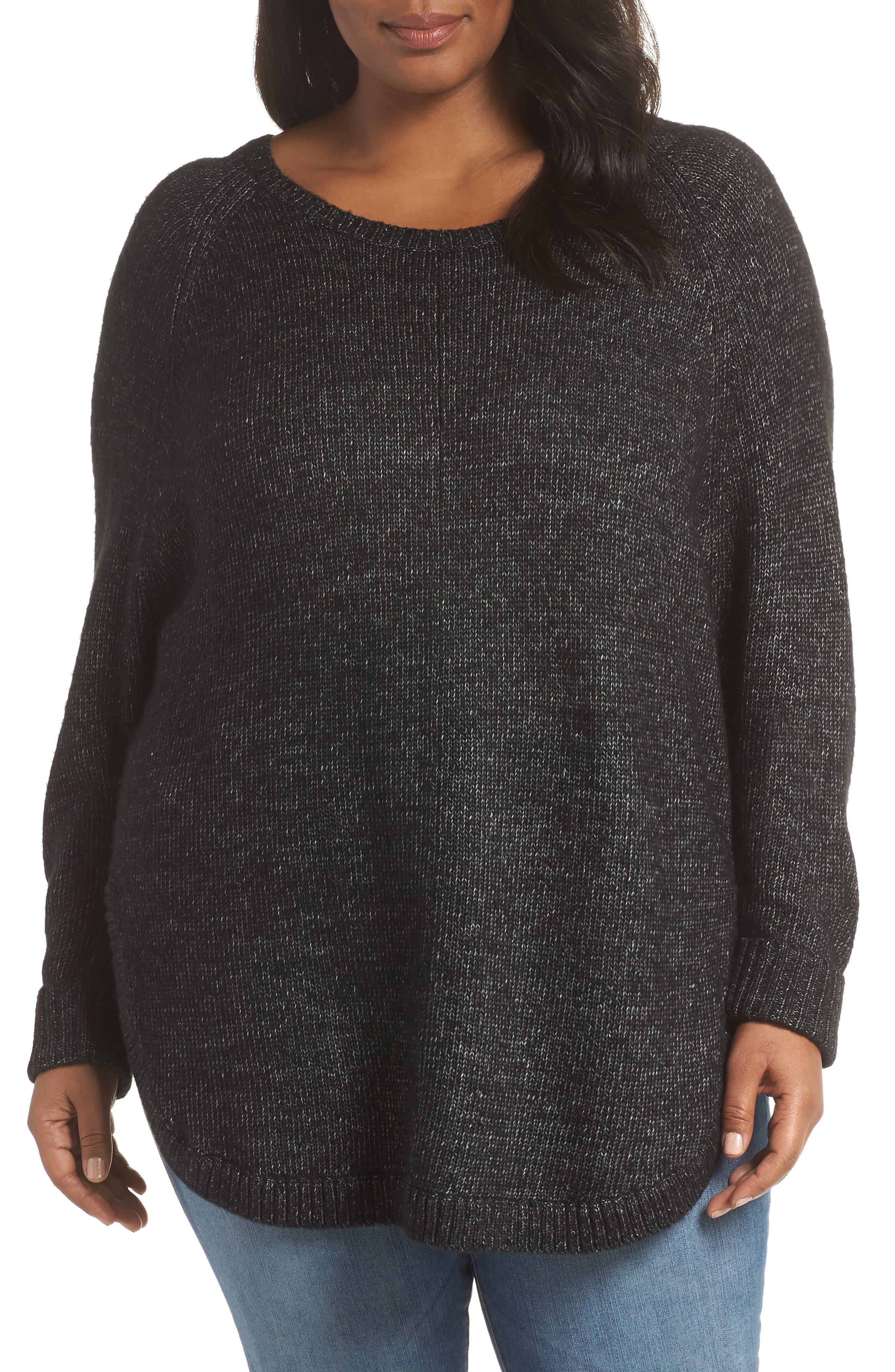 SEJOUR,                             Curved Hem Sweater with Detachable Faux Fur Collar,                             Alternate thumbnail 2, color,                             BLACK HEATHER