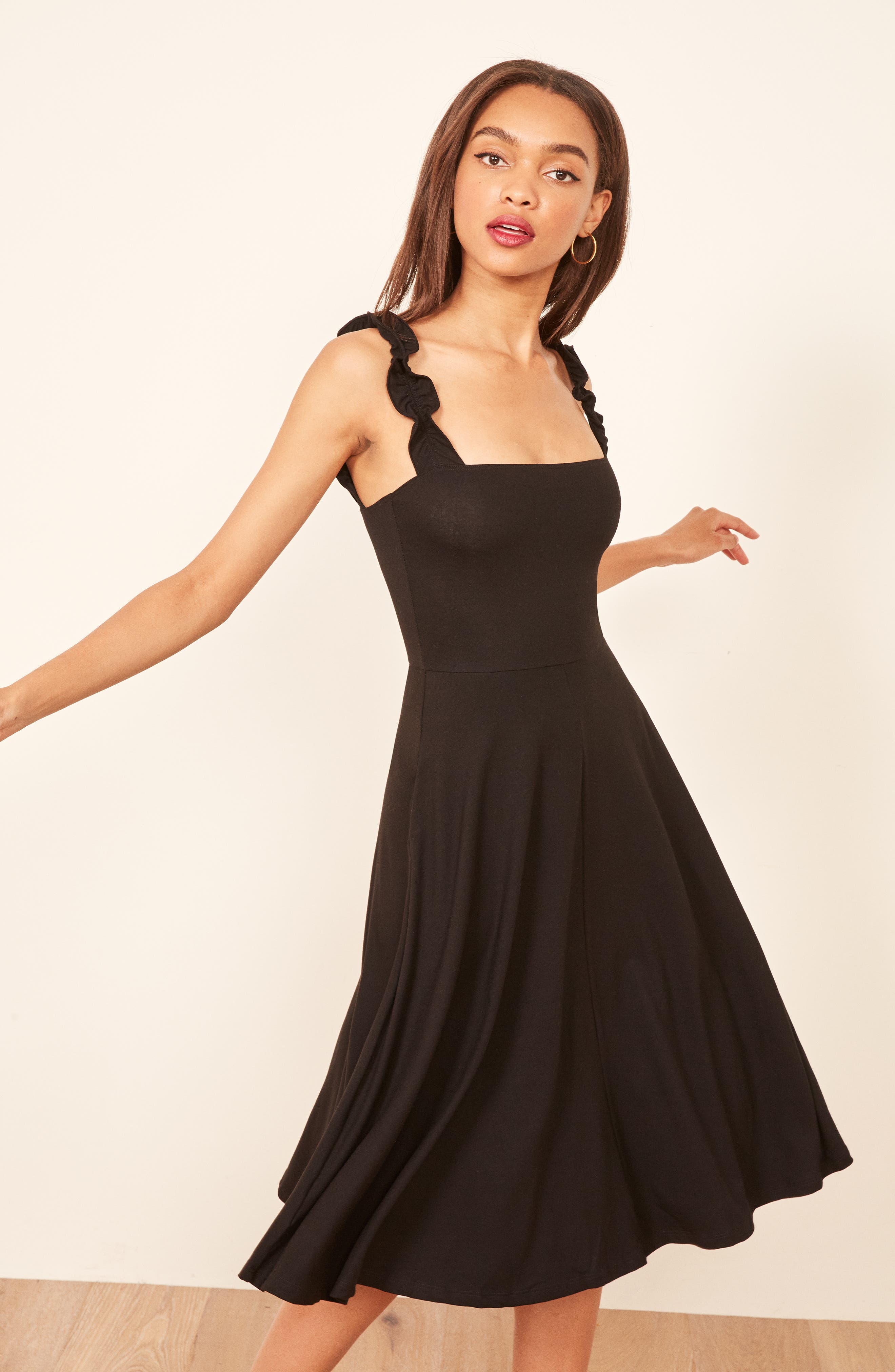 Eda Ruffle Strap Dress,                             Alternate thumbnail 5, color,                             BLACK