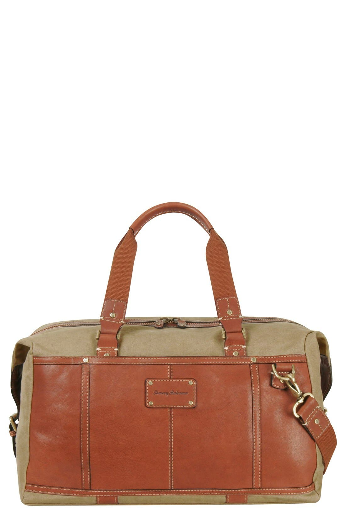 Canvas & Leather Duffel Bag,                             Main thumbnail 1, color,                             210