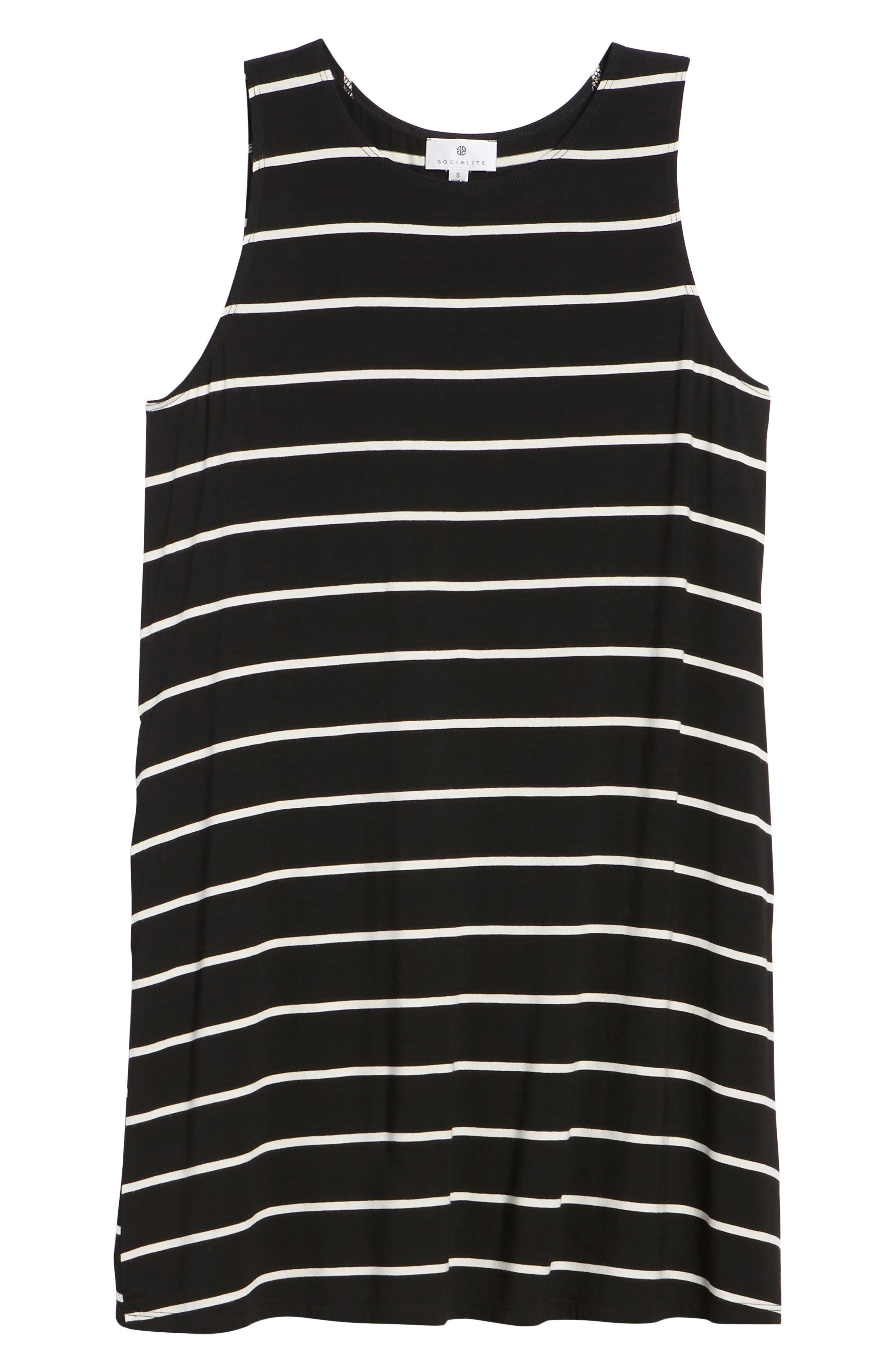 Pocket Tank Dress,                             Alternate thumbnail 7, color,                             BLACK/ WHITE STRIPE