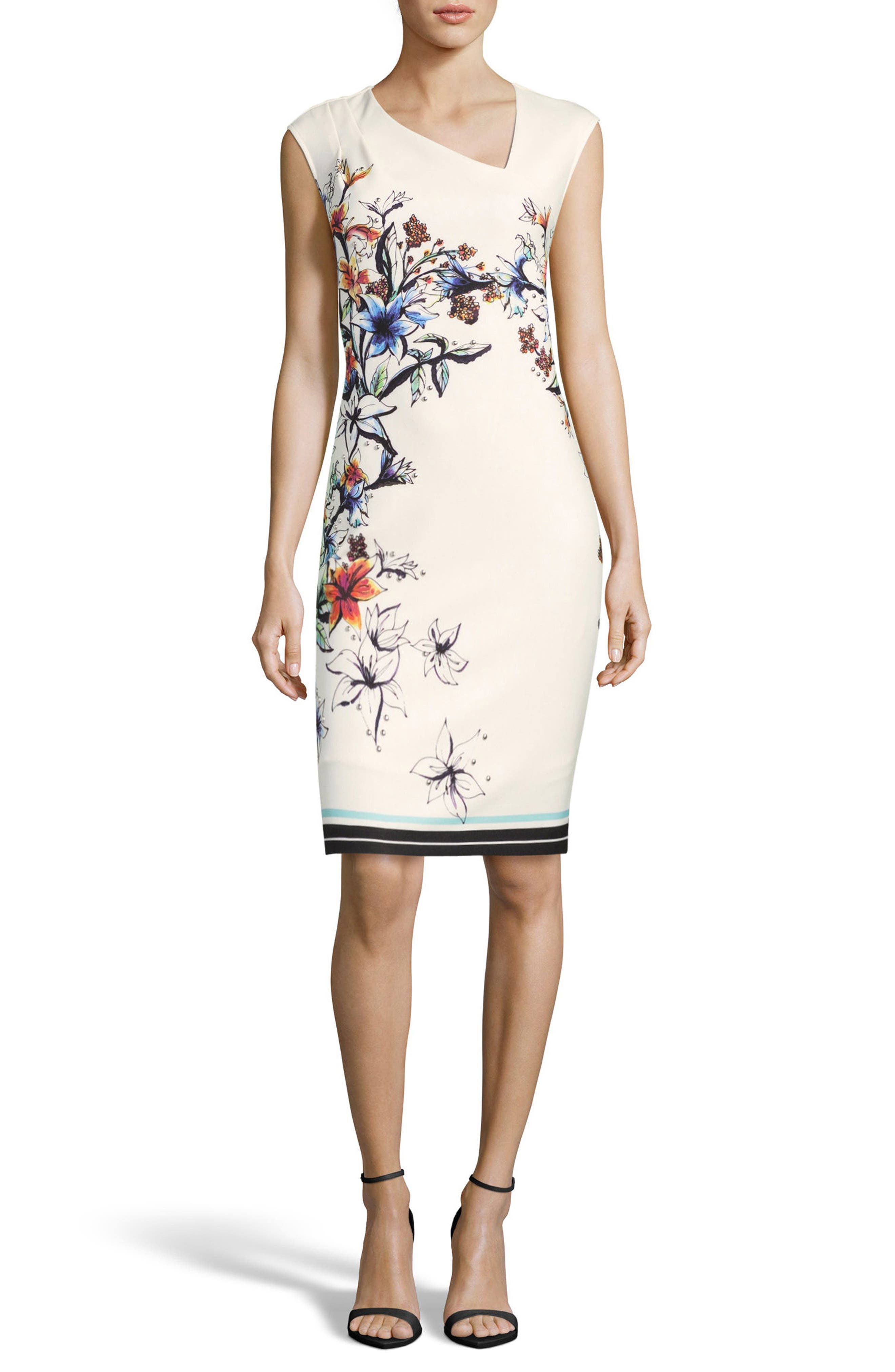 Floral Asymmetric Sheath Dress,                             Main thumbnail 1, color,                             900