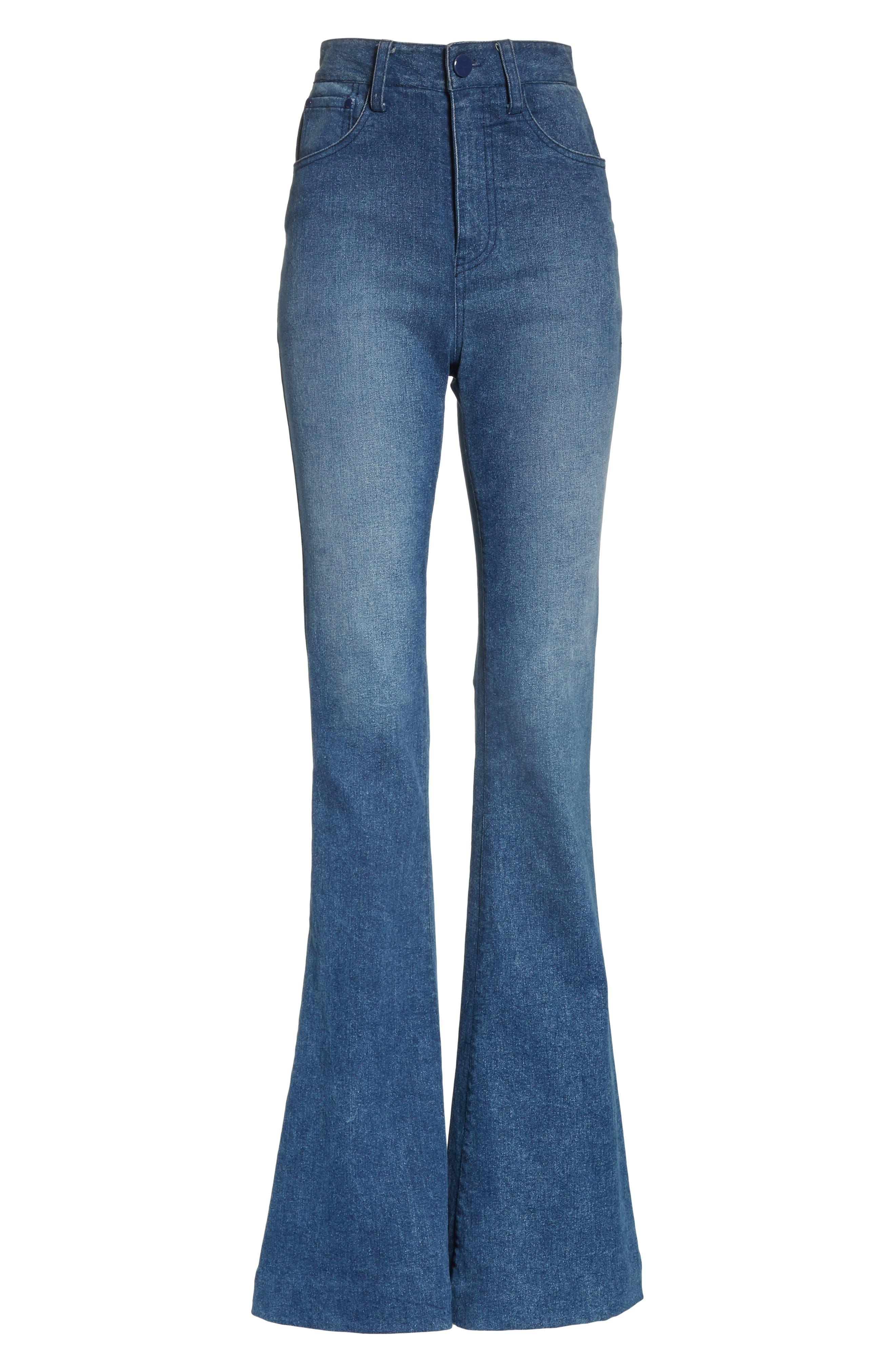 High Waist Bell Bottom Jeans,                             Alternate thumbnail 6, color,                             400