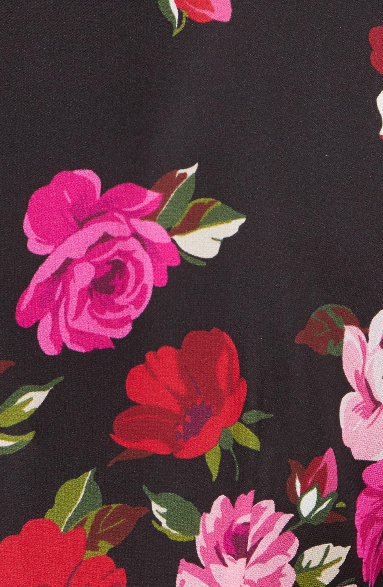 scattered rose velvet trim silk dress,                             Alternate thumbnail 5, color,                             006