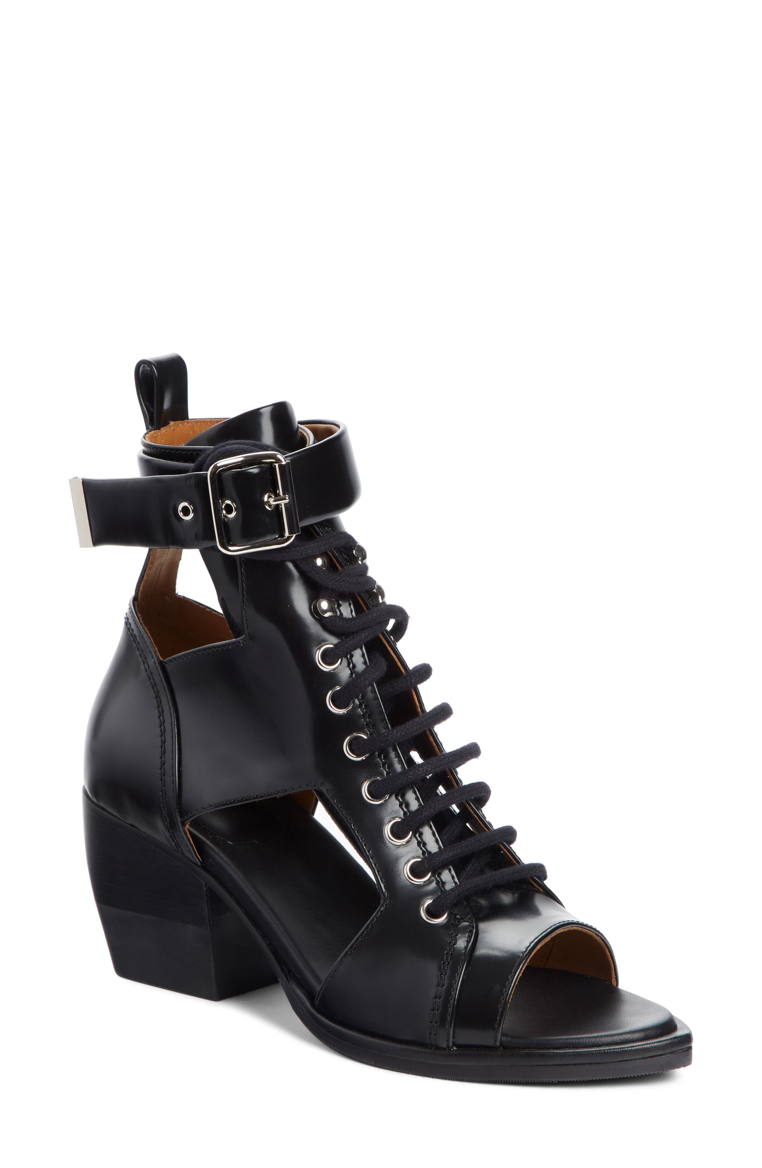 CHLOÉ Rylee Cutout Open Toe Boot, Main, color, BLACK LEATHER