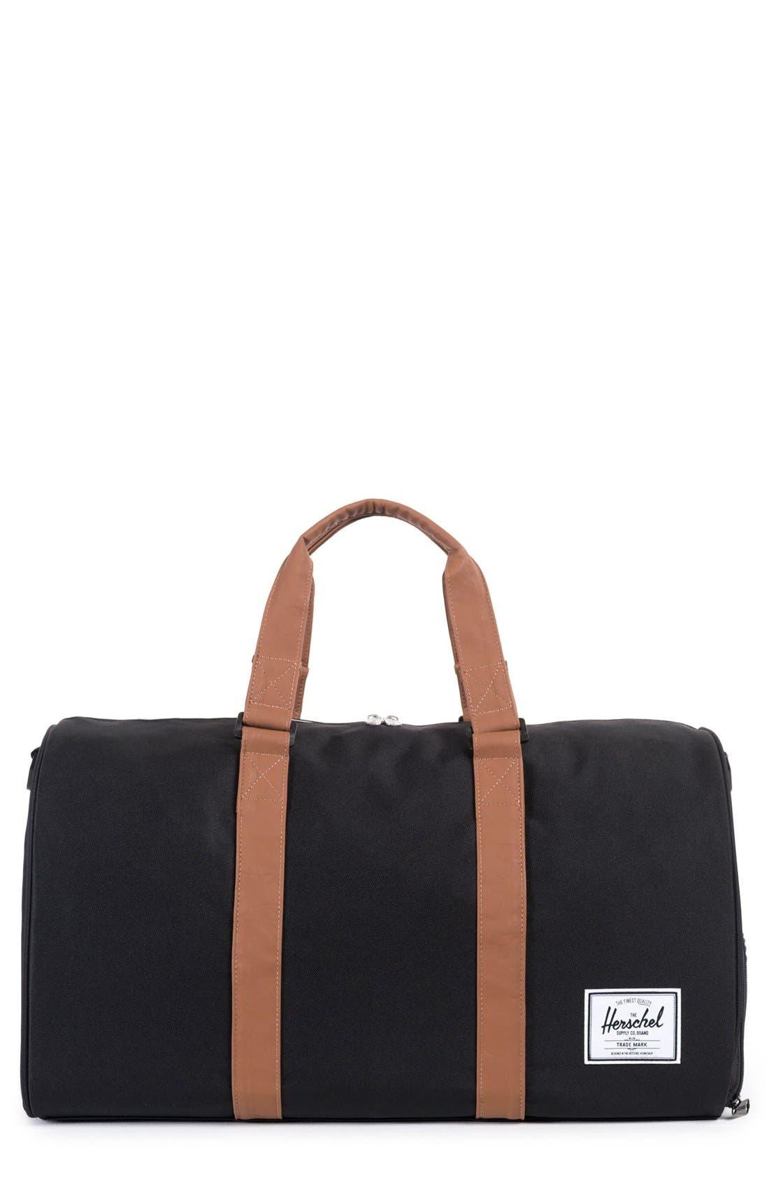 'Novel' Duffel Bag,                             Main thumbnail 1, color,                             BLACK/ TAN