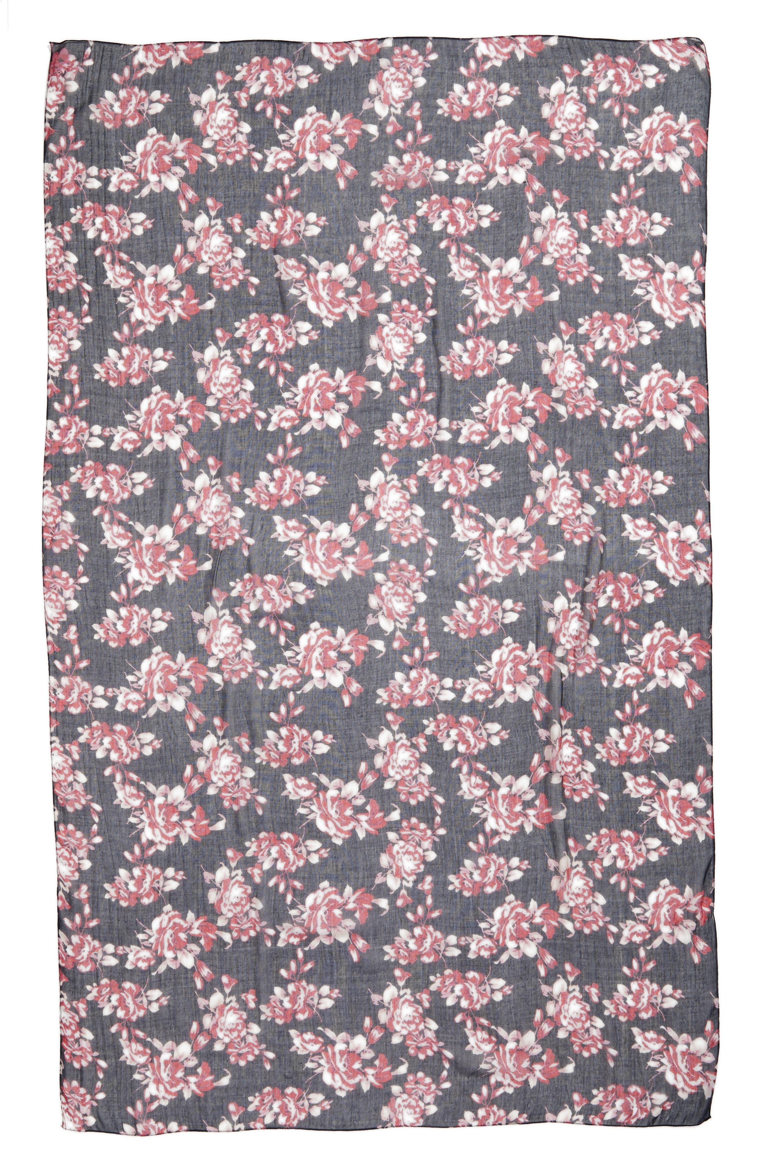 Floral Print Scarf,                             Alternate thumbnail 3, color,                             400