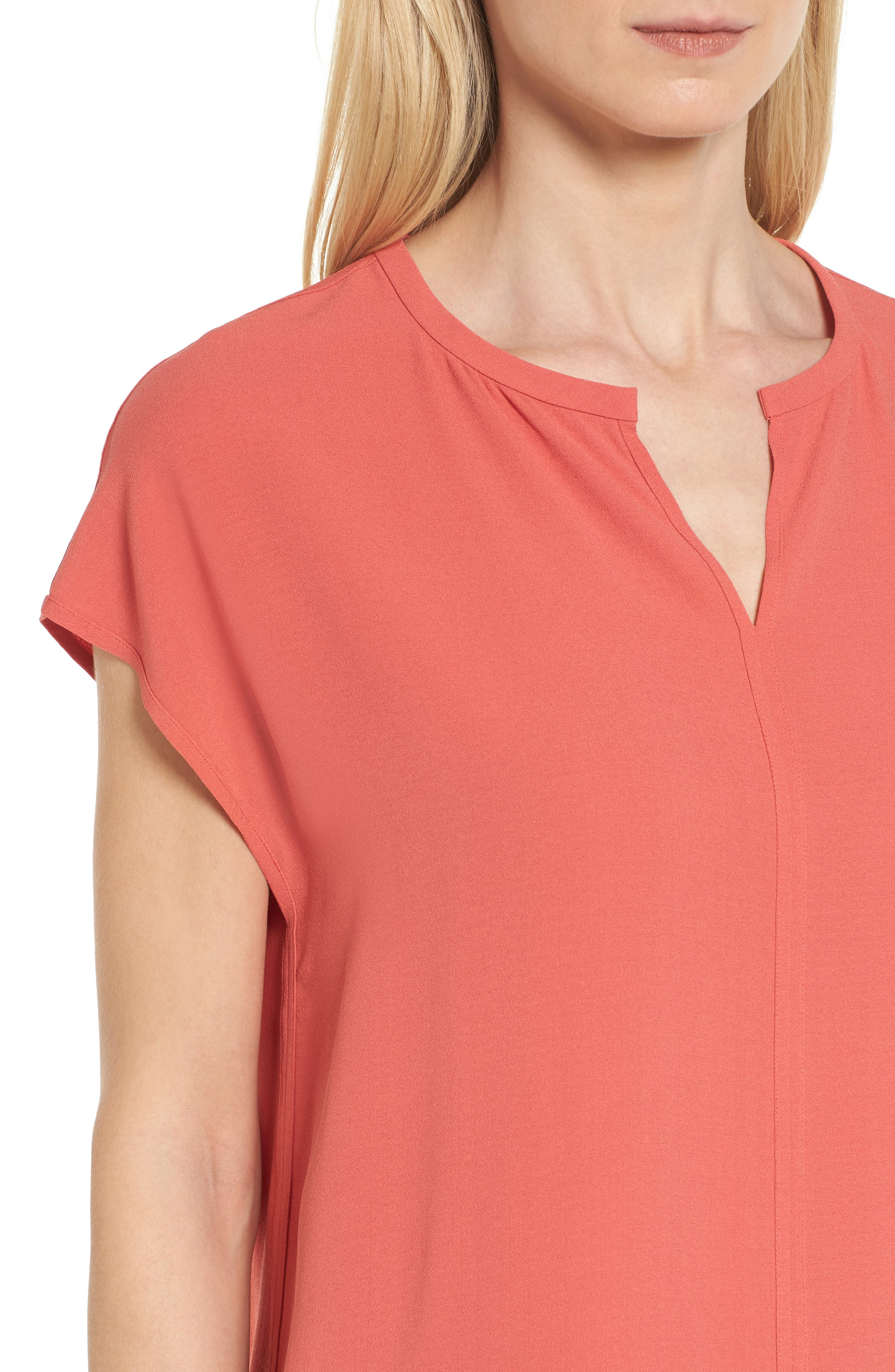 Split Neck Silk Shirt,                             Alternate thumbnail 13, color,