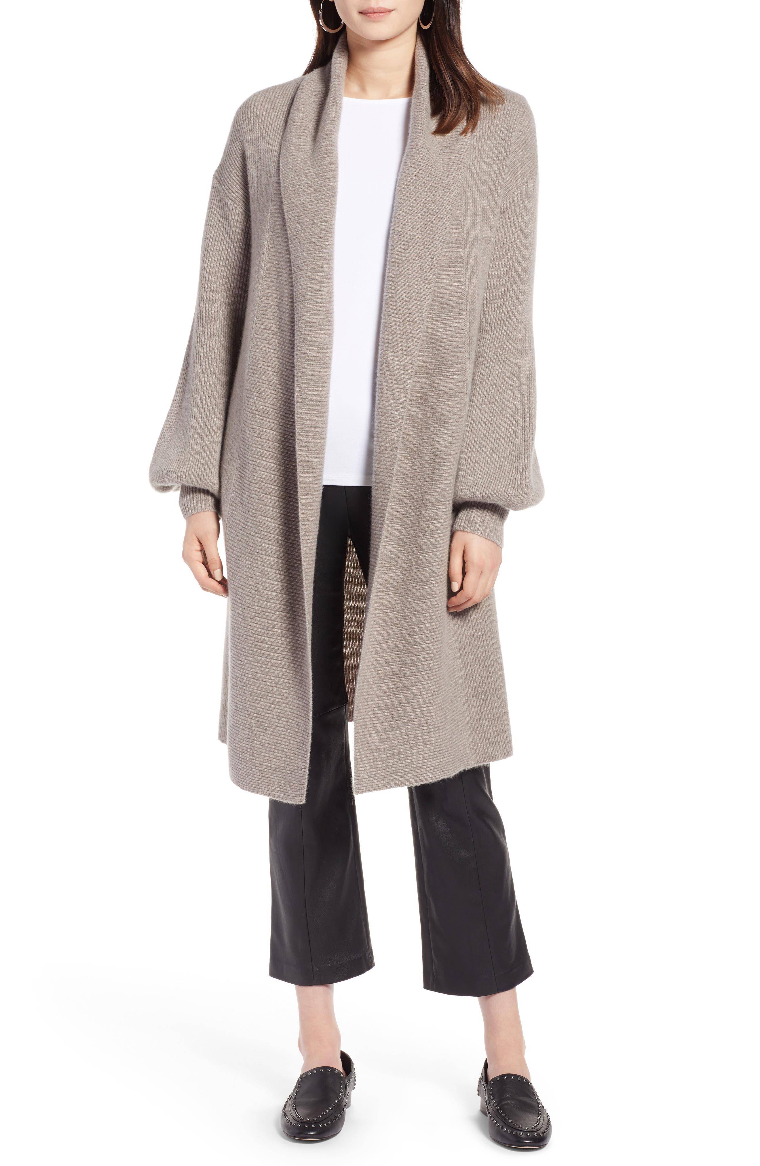 Blouson Sleeve Long Cashmere Cardigan,                             Main thumbnail 3, color,