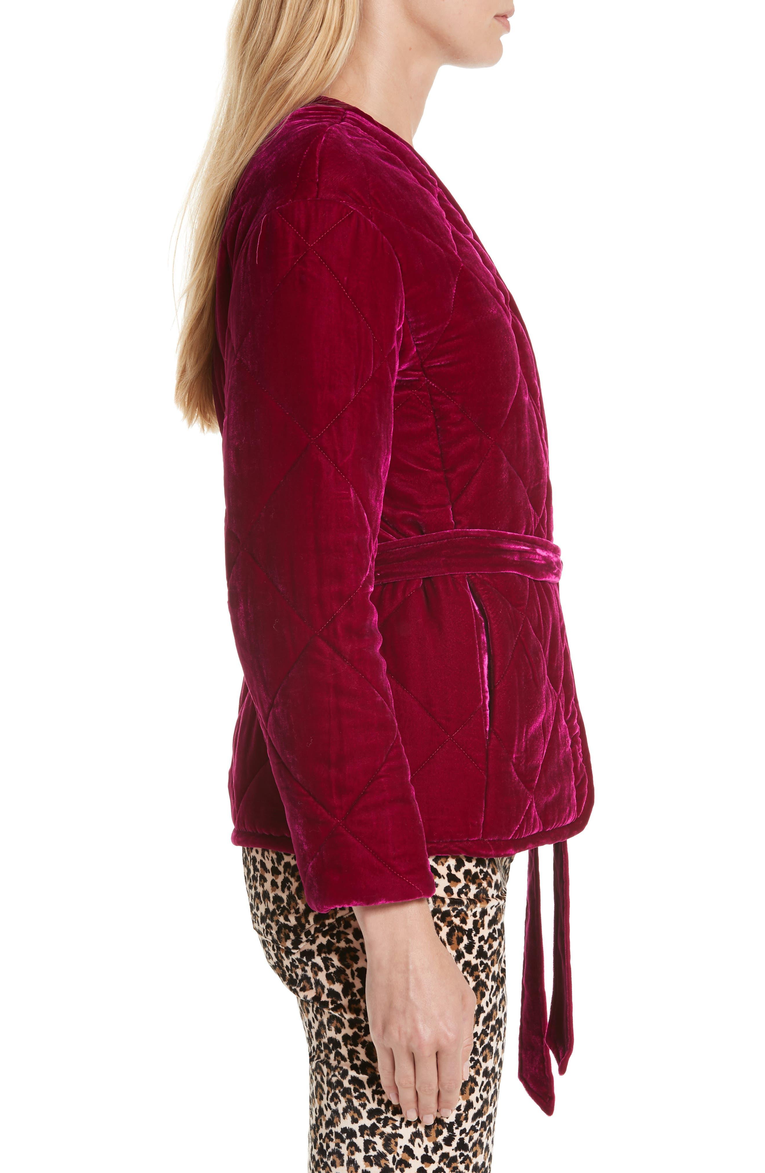 Quilted Velvet Jacket,                             Alternate thumbnail 3, color,                             CRANBERRY