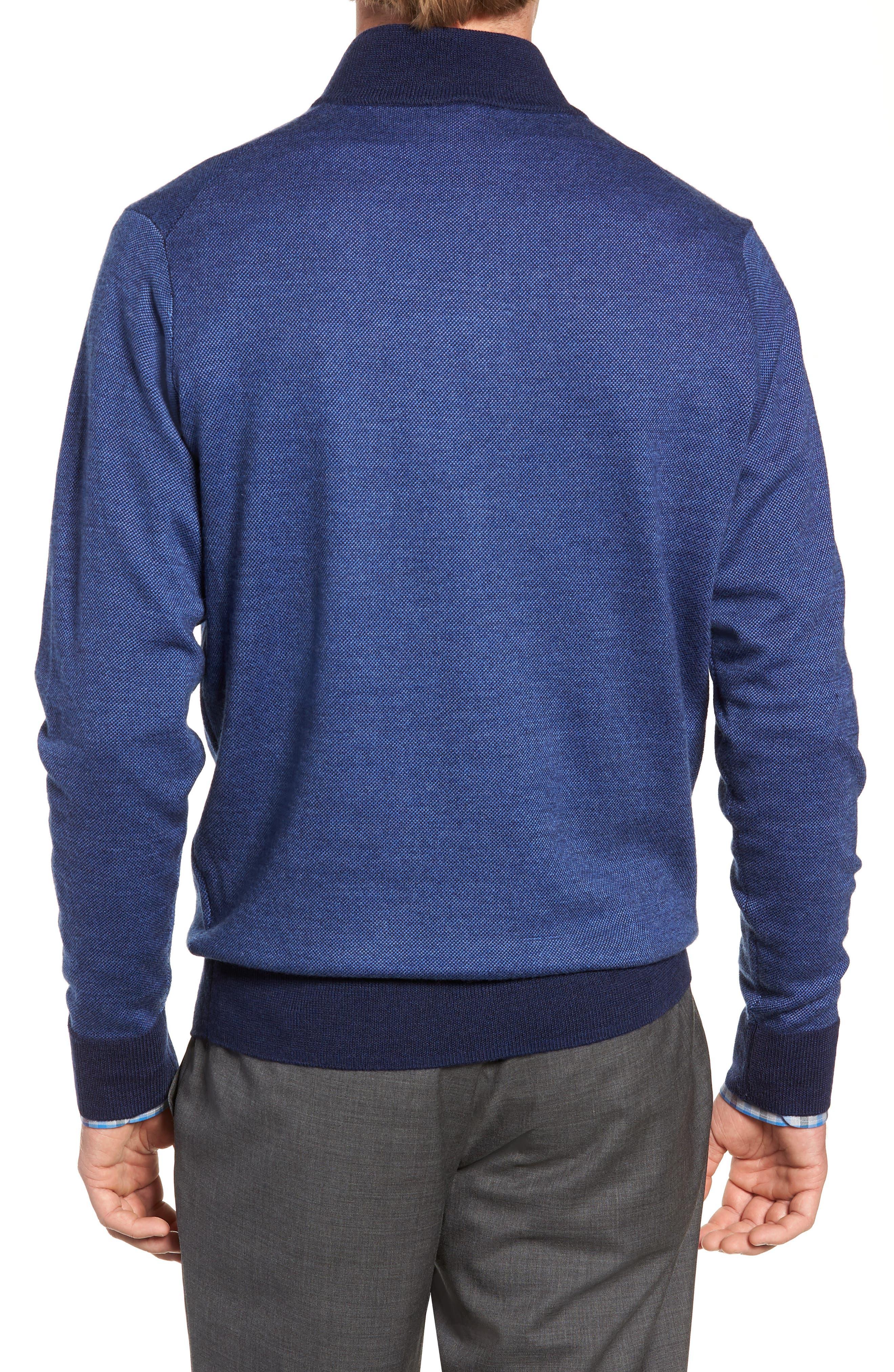 Birdseye Merino Wool Quarter Zip Sweater,                             Alternate thumbnail 2, color,                             PLAZA BLUE