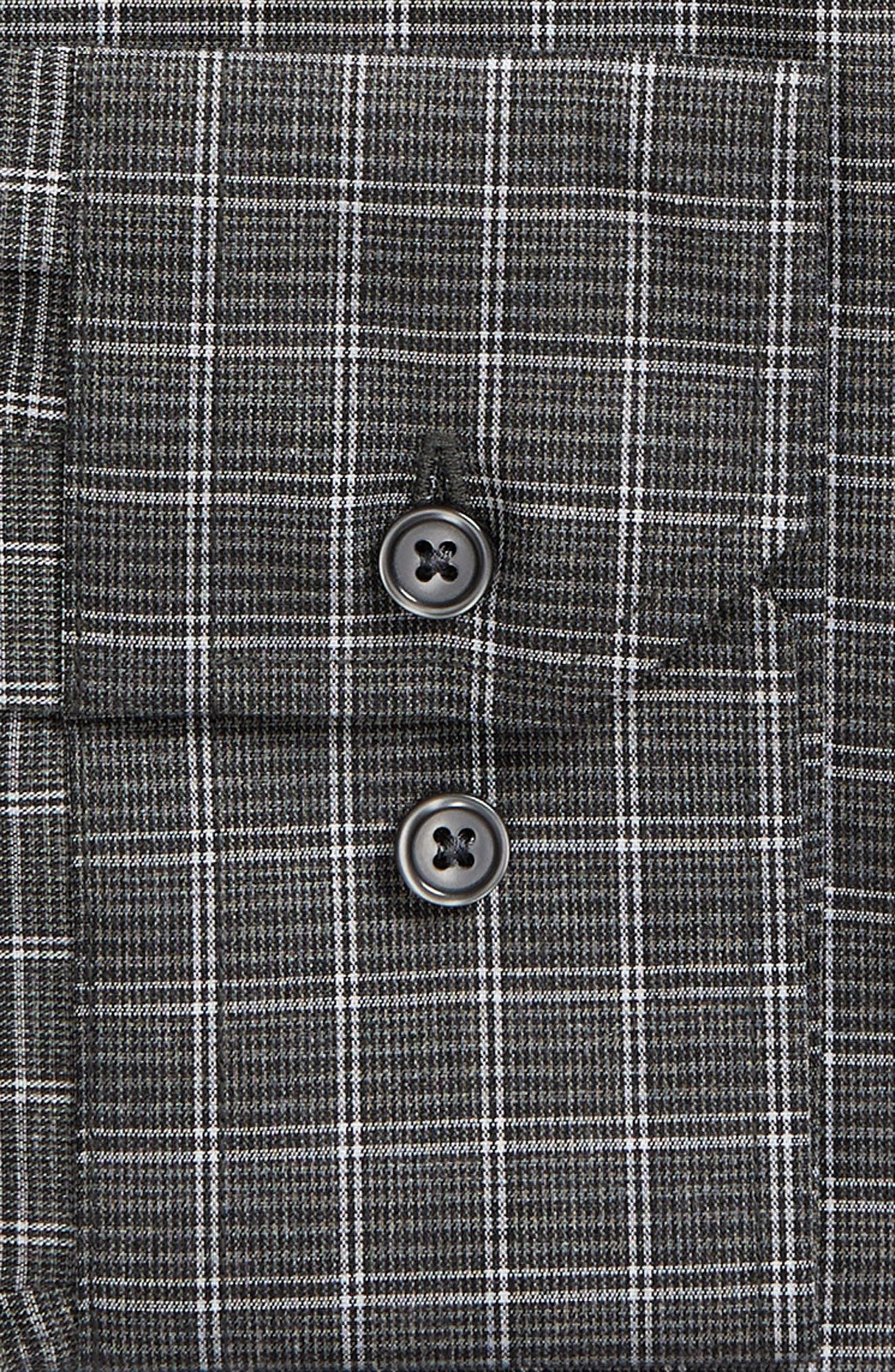 Trim Fit Non-Iron Check Dress Shirt,                             Alternate thumbnail 6, color,                             GREY ONYX