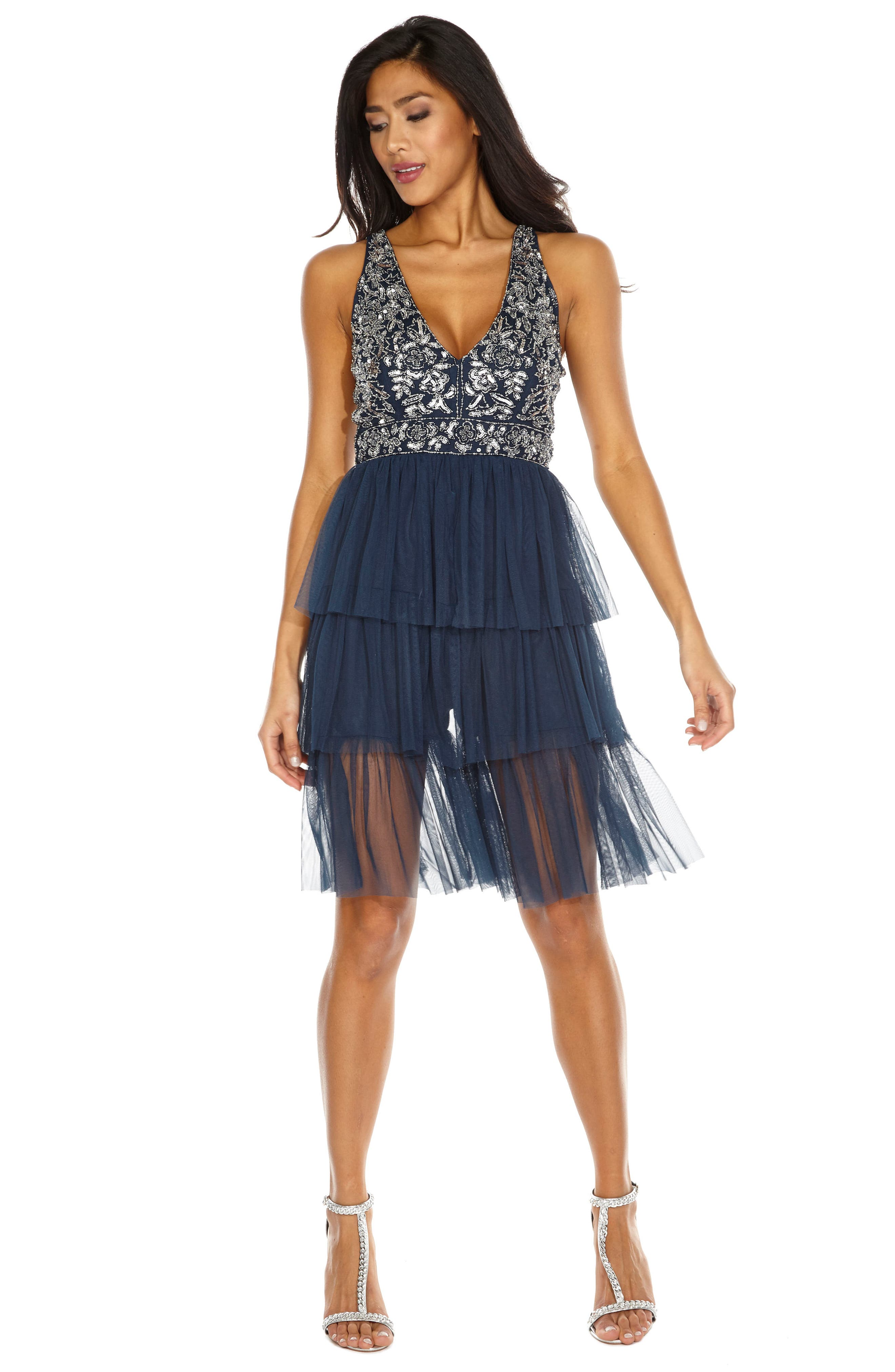 Embellished Tiered Fit & Flare Dress,                             Alternate thumbnail 4, color,                             410