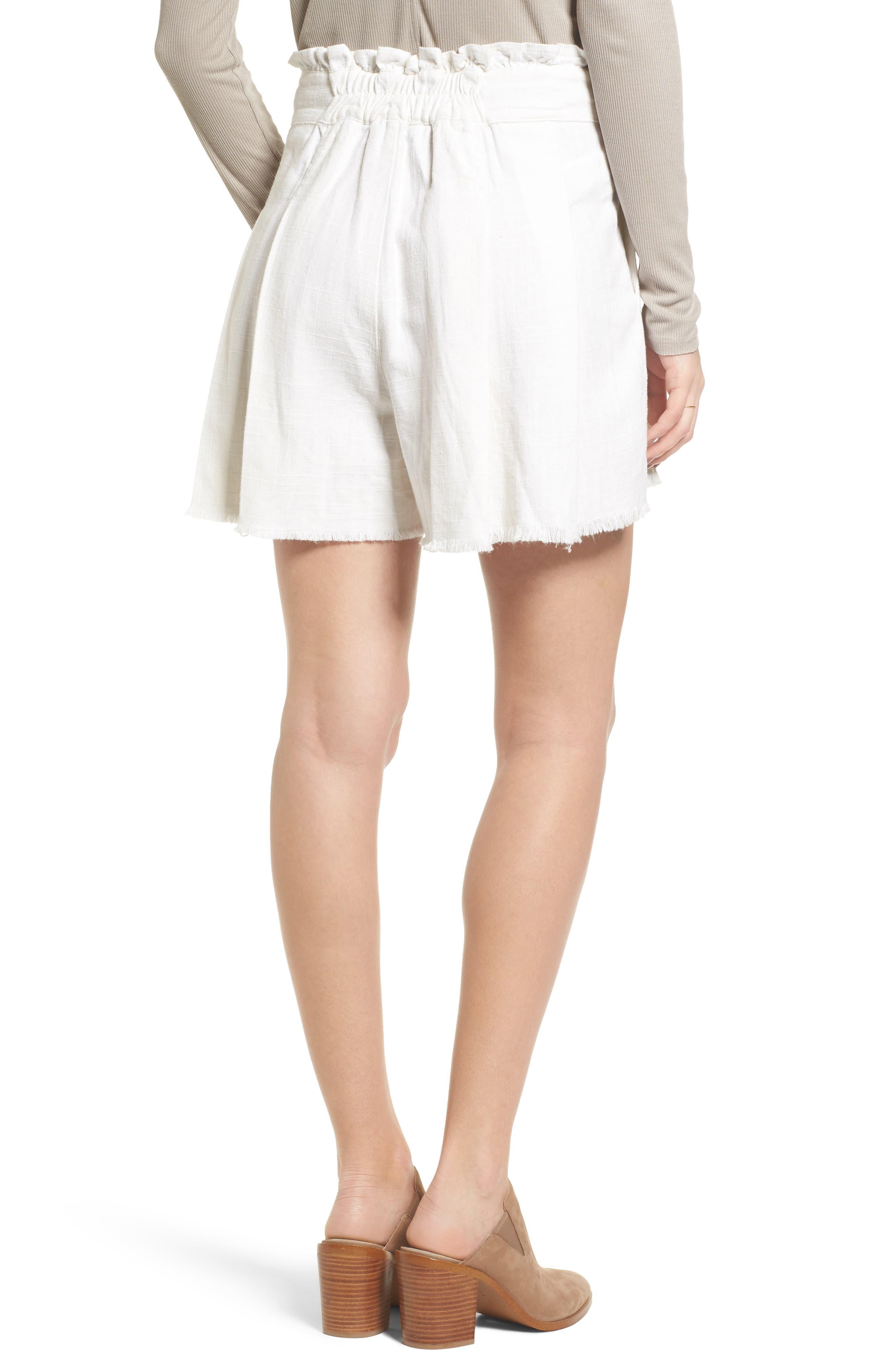 Raw Hem Paper Bag Waist Shorts,                             Alternate thumbnail 2, color,                             100