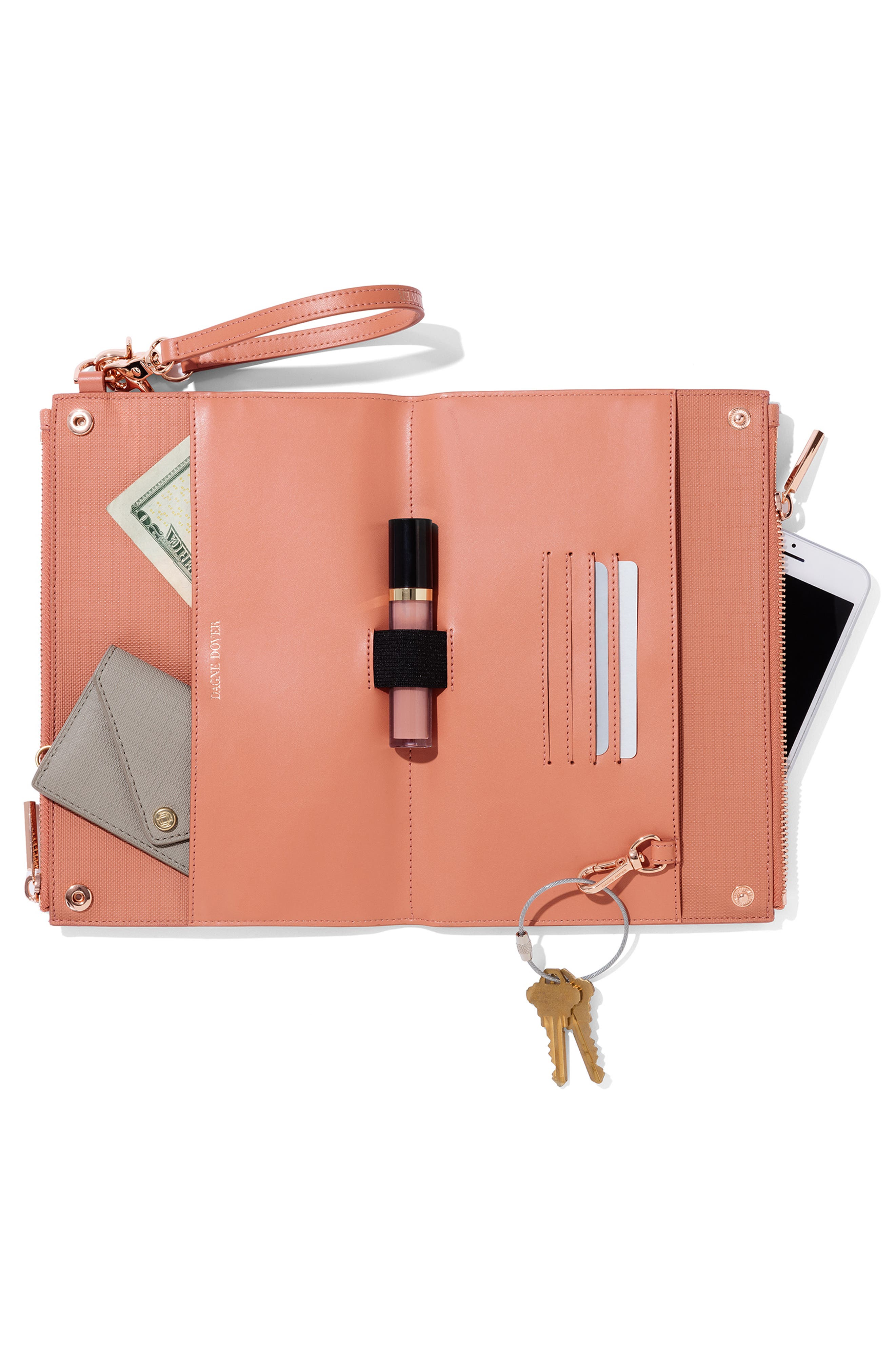Signature Essentials Coated Canvas Clutch/Wallet,                             Alternate thumbnail 2, color,                             SIENNA STRIPE