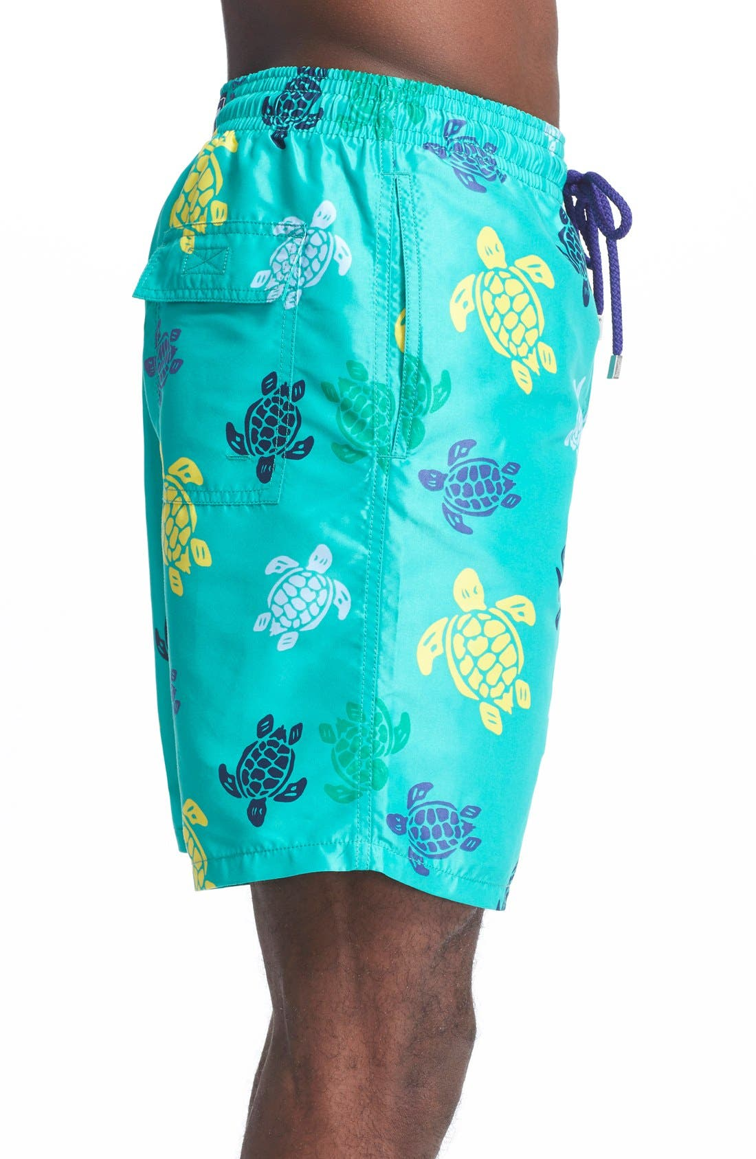 'Okoa' Turtle Print Swim Trunks,                             Alternate thumbnail 3, color,                             348
