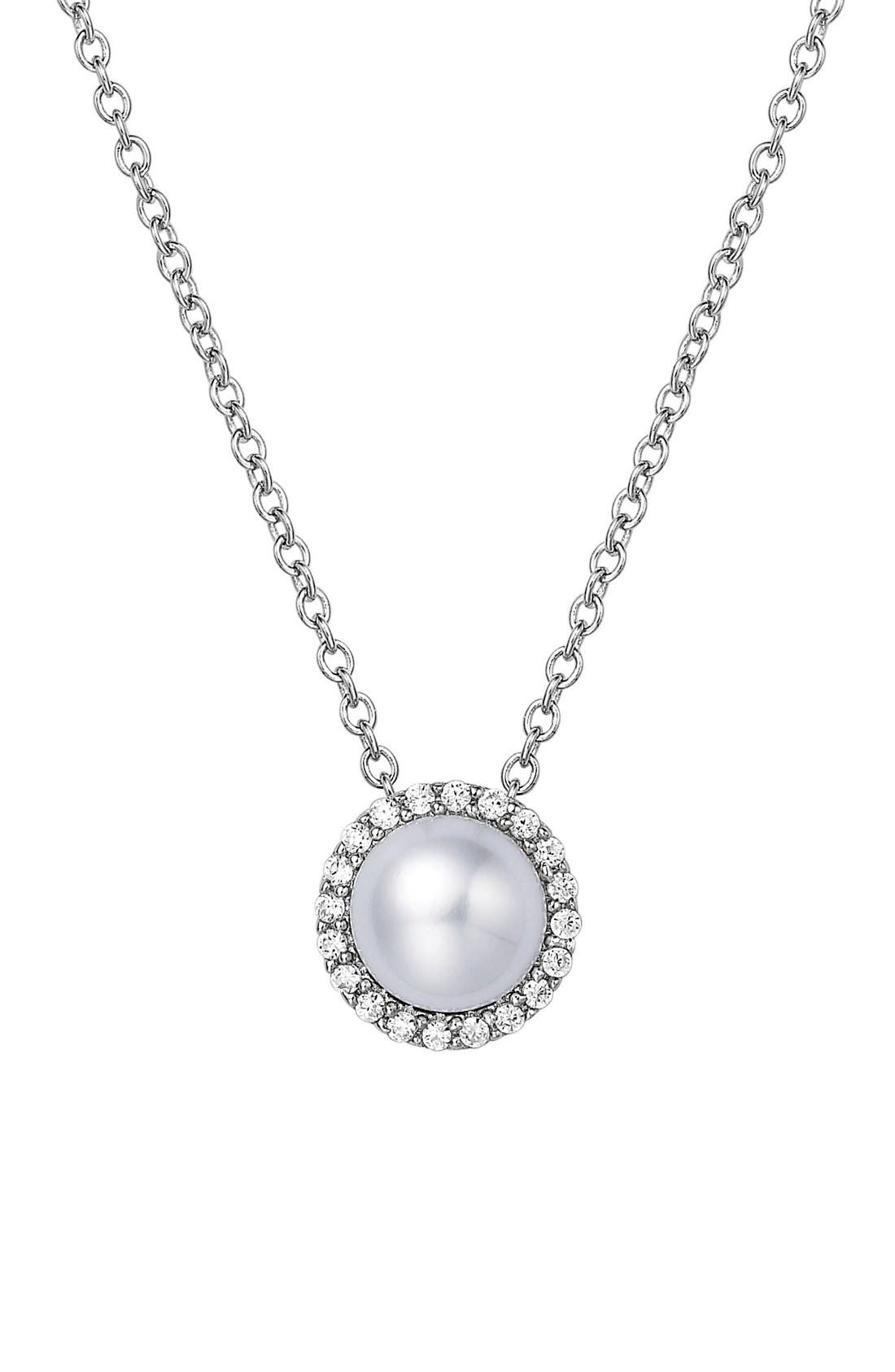 Birthstone Halo Pendant Necklace,                             Main thumbnail 1, color,                             JUNE PEARL / SILVER