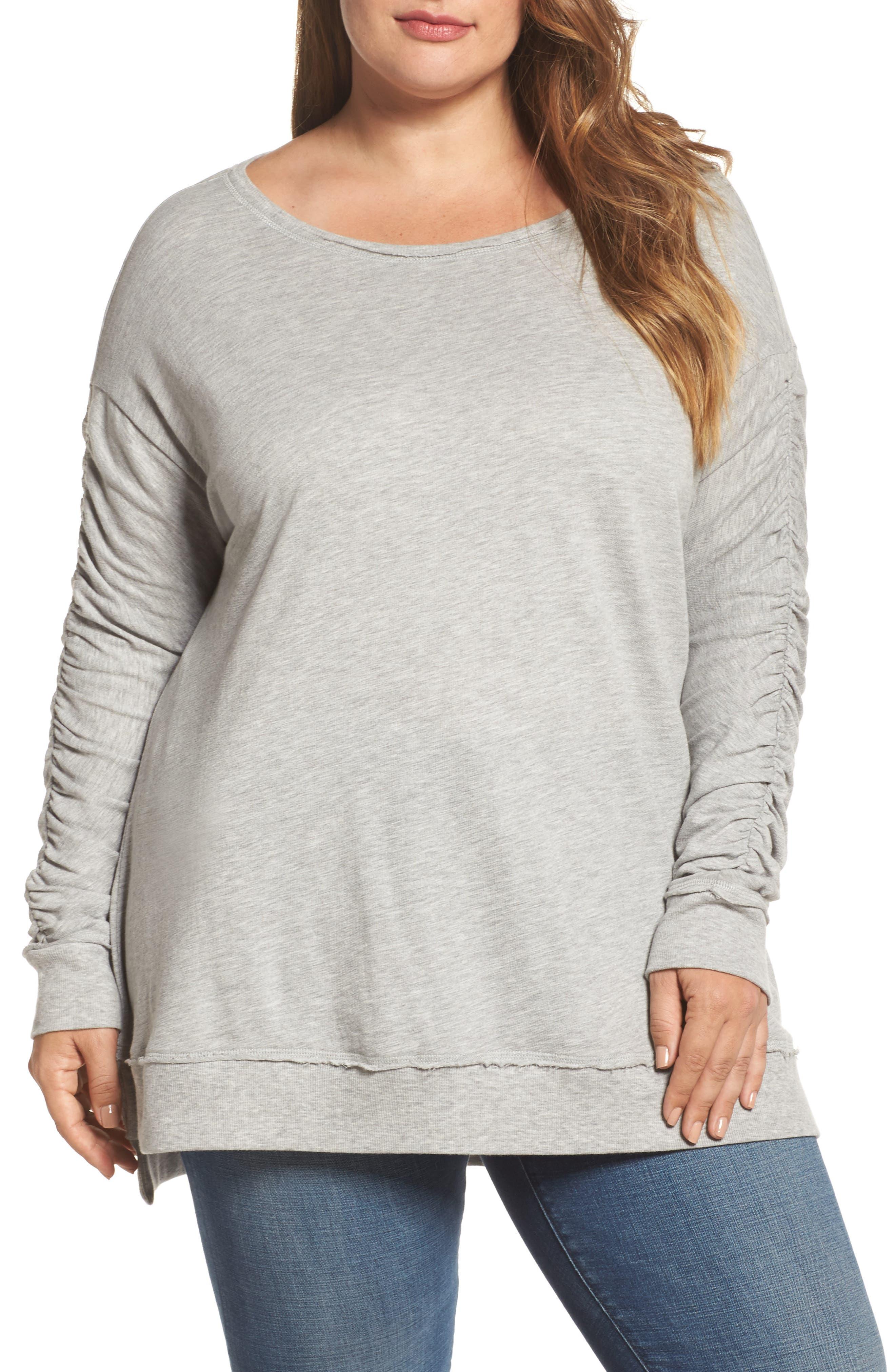 Scrunch Sleeve Sweatshirt,                             Main thumbnail 1, color,                             030