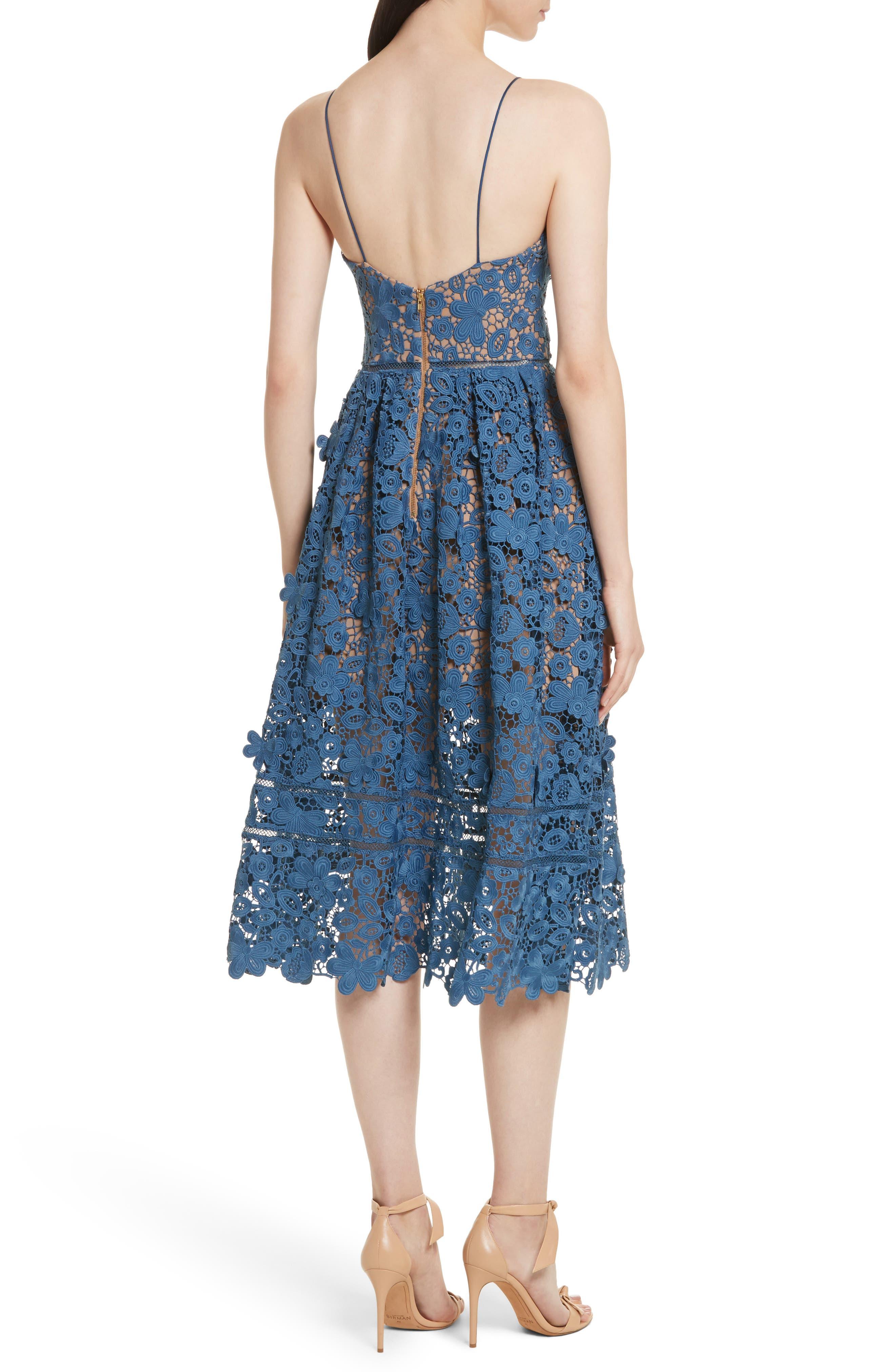 Azaelea 3D Lace Fit & Flare Dress,                             Alternate thumbnail 2, color,                             SLATE BLUE