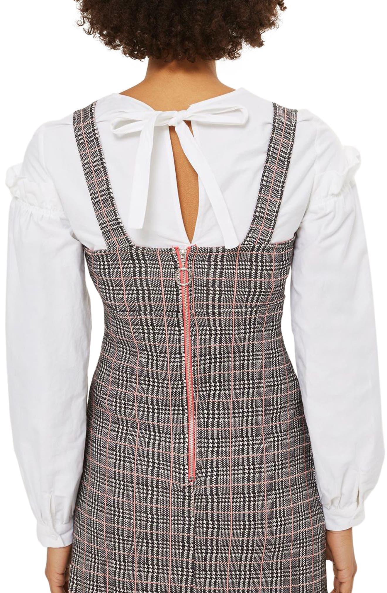 Plaid A-Line Pinafore Dress,                             Alternate thumbnail 2, color,                             001