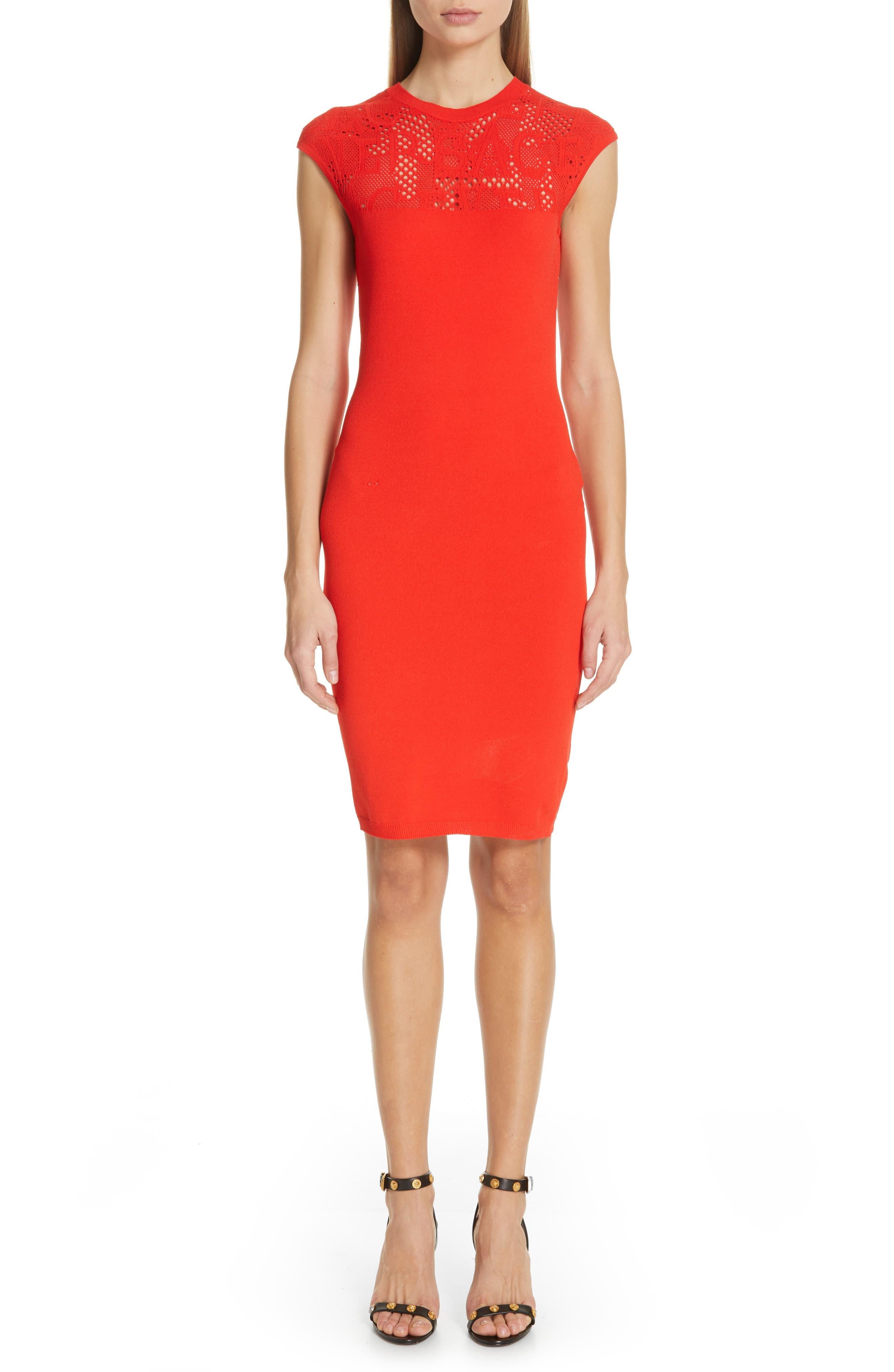 Versace Logo Mesh Panel Body-Con Dress, Main, color, CORAL