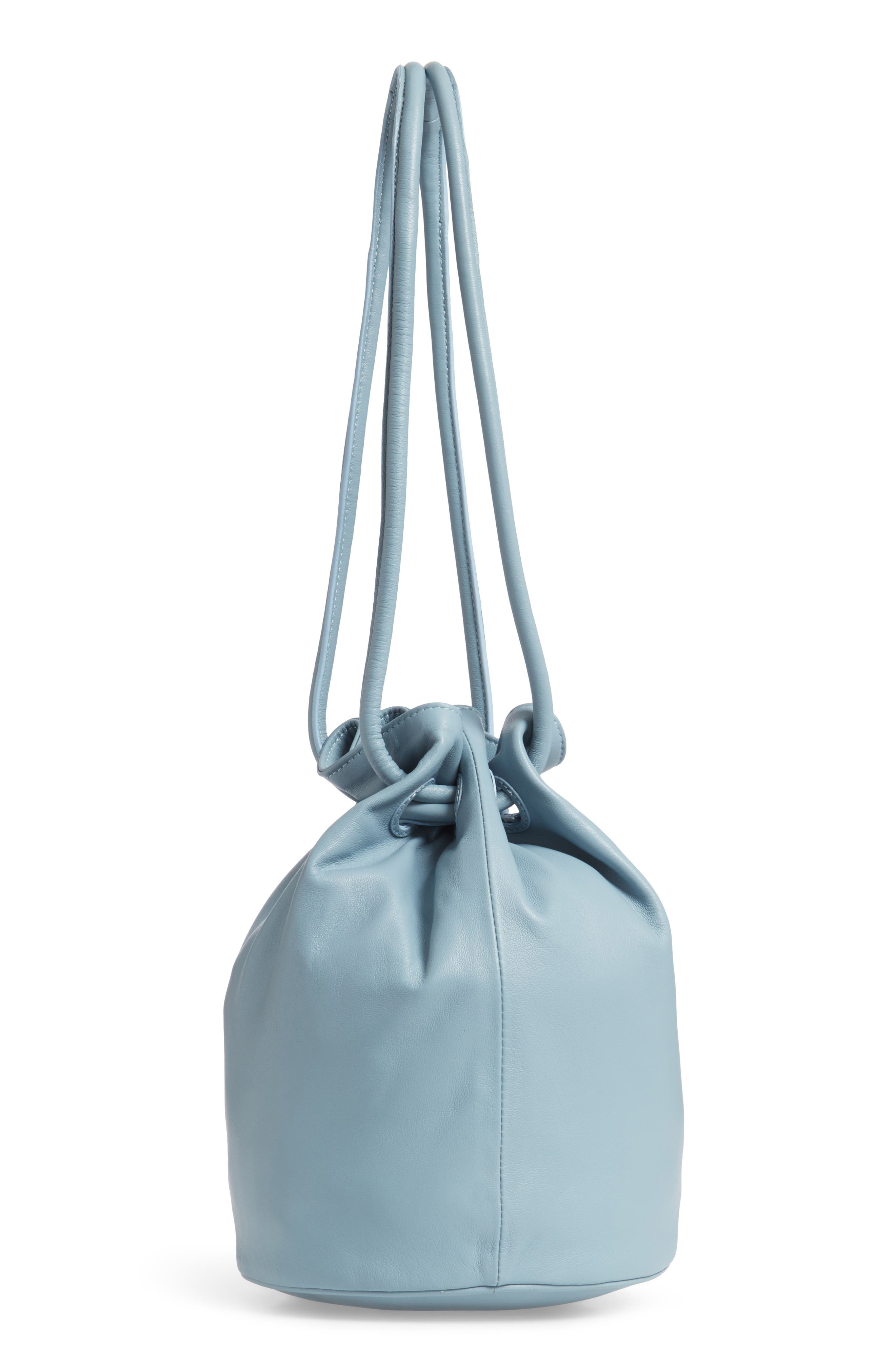 Lambskin Leather Drawstring Pouch,                             Alternate thumbnail 3, color,                             GREY BLUE