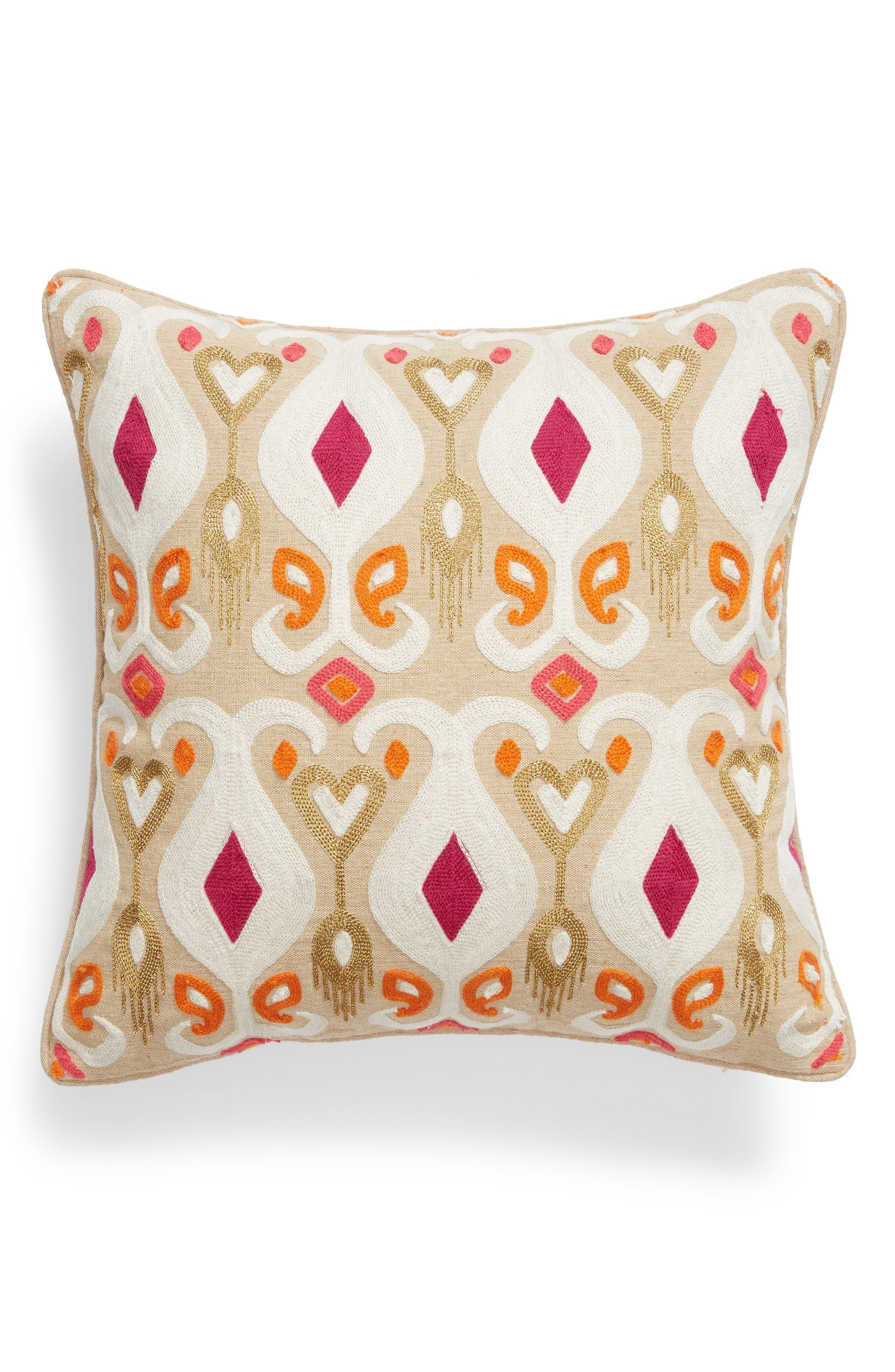 Saffron Crewel Stitch Accent Pillow,                             Main thumbnail 1, color,                             251