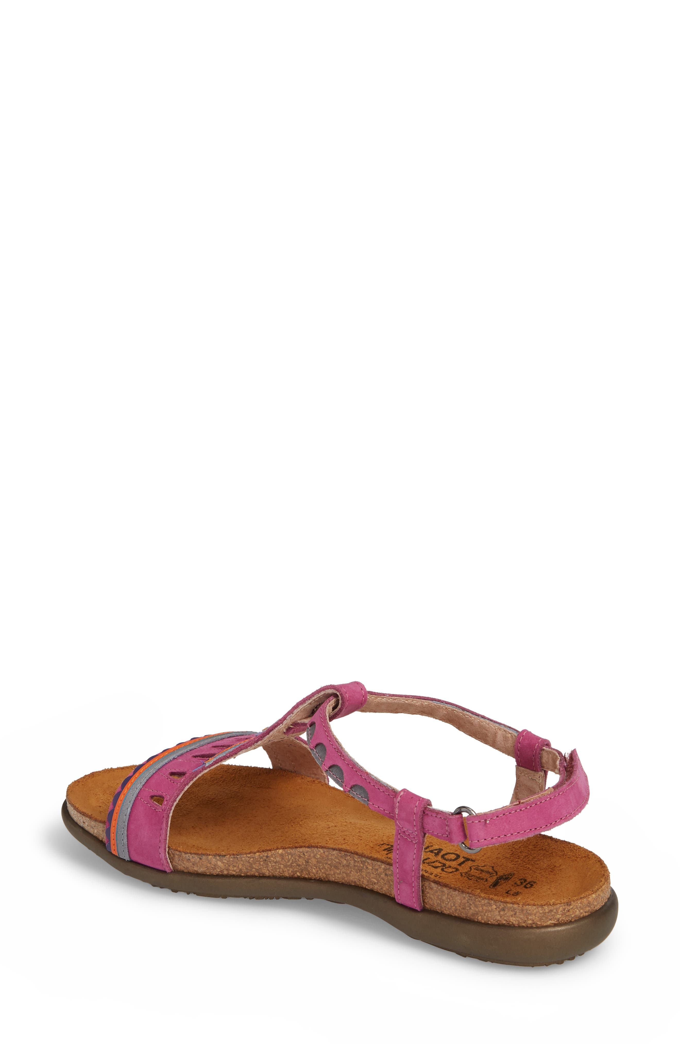 Odelia Perforated T-Strap Sandal,                             Alternate thumbnail 2, color,                             PINK PLUM NUBUCK