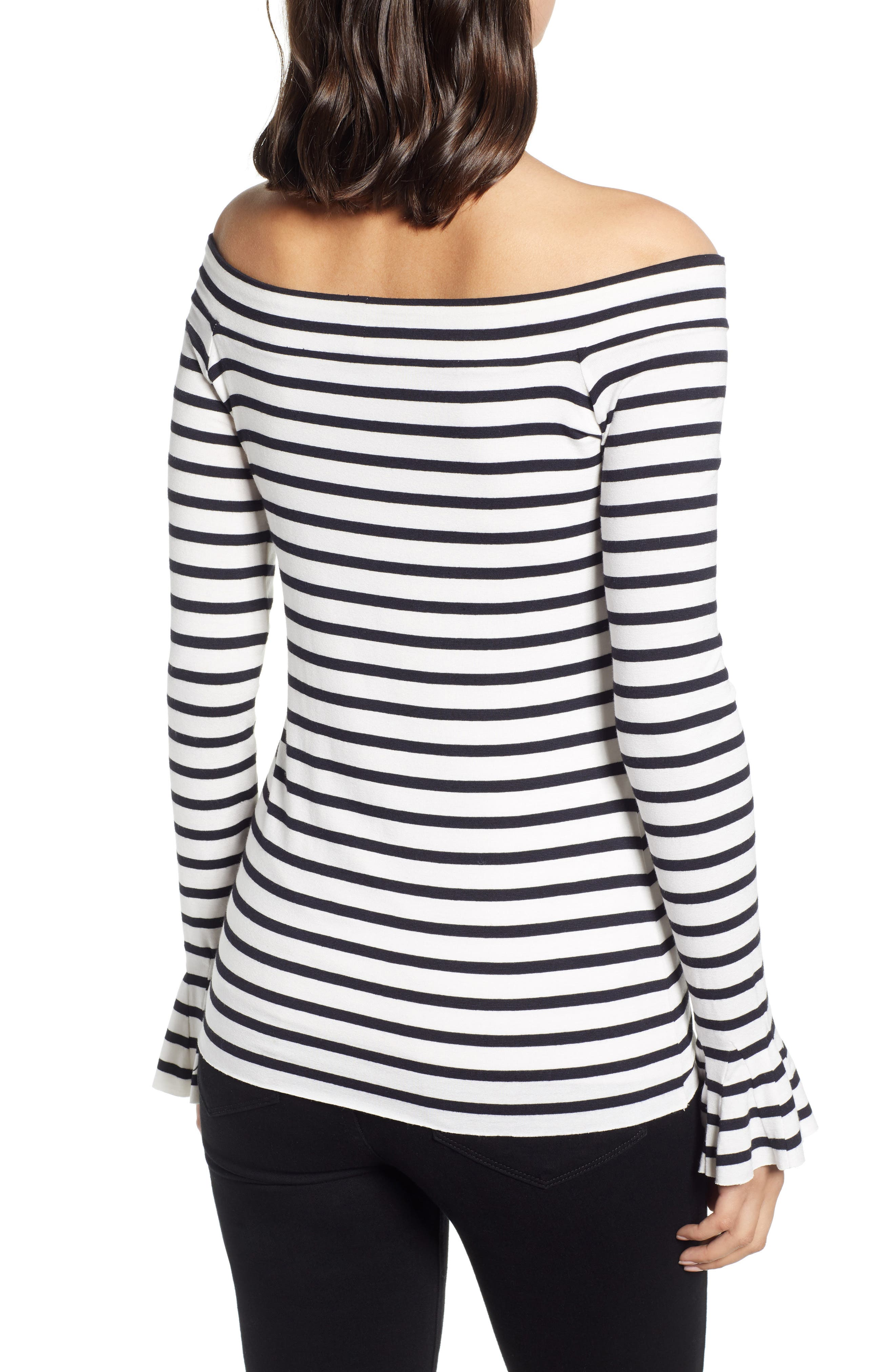 Bateau Venice Off-the-Shoulder Tee,                             Alternate thumbnail 2, color,                             CHALK/ MIDNIGHT
