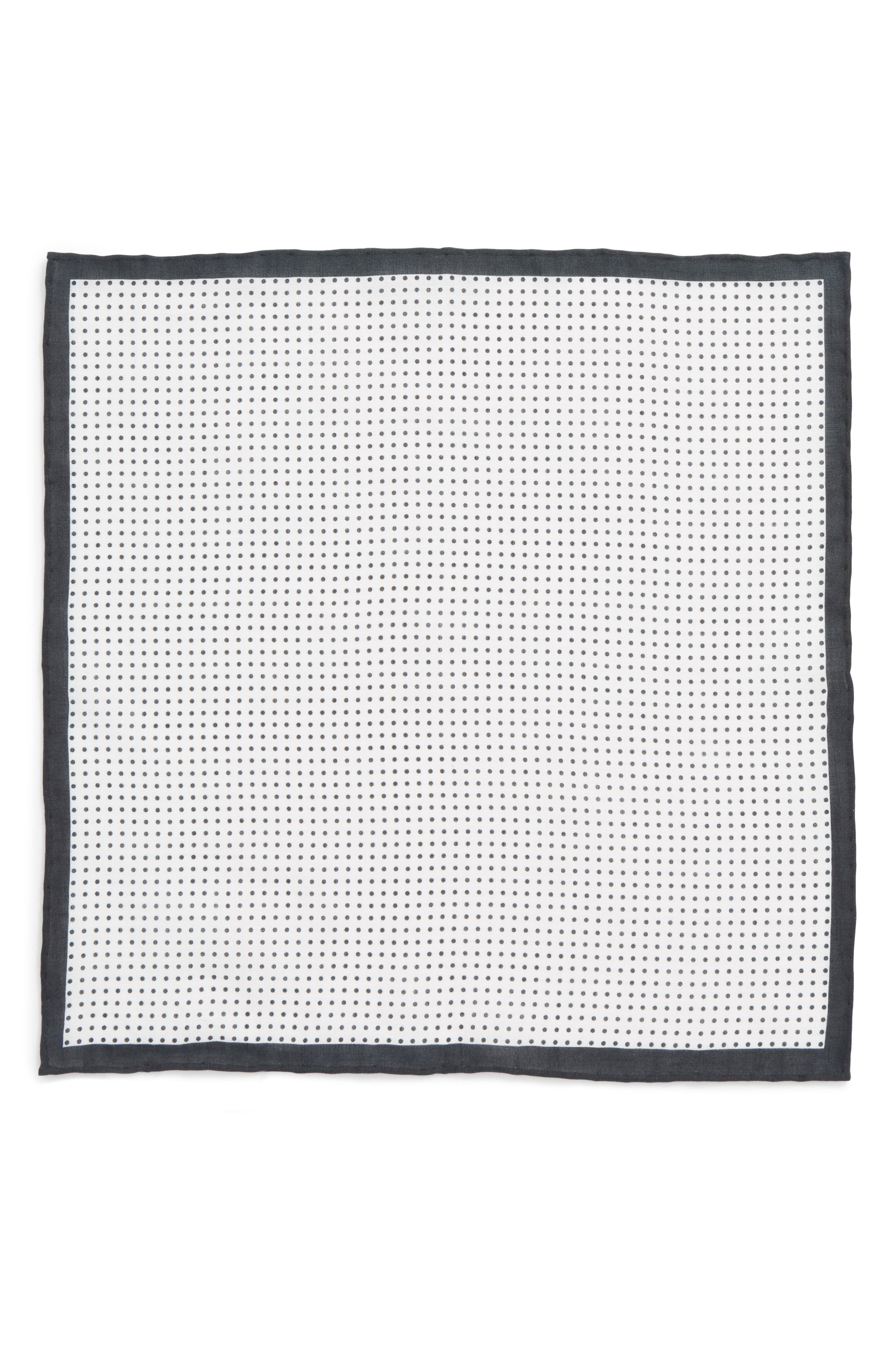 Domino Dot Linen Pocket Square,                             Alternate thumbnail 2, color,                             001