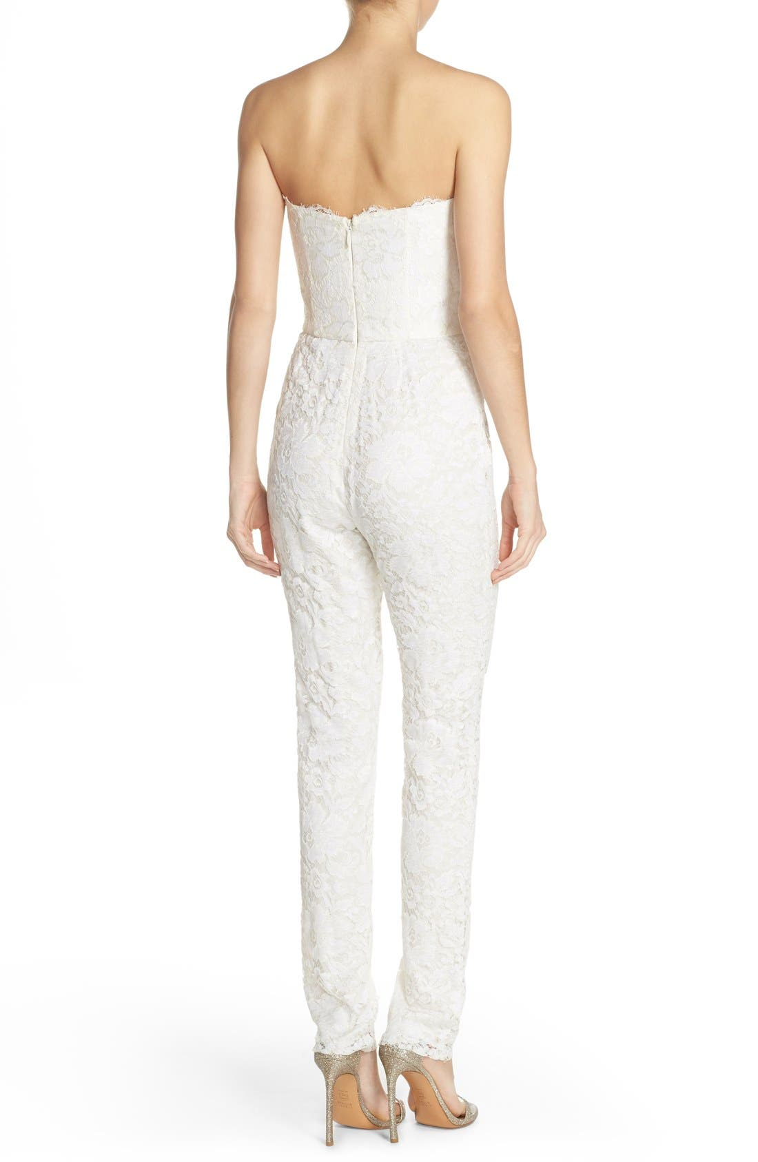 Monique Lhuillier Ready to Wed Strapless Chantilly Lace Jumpsuit,                             Alternate thumbnail 4, color,                             100