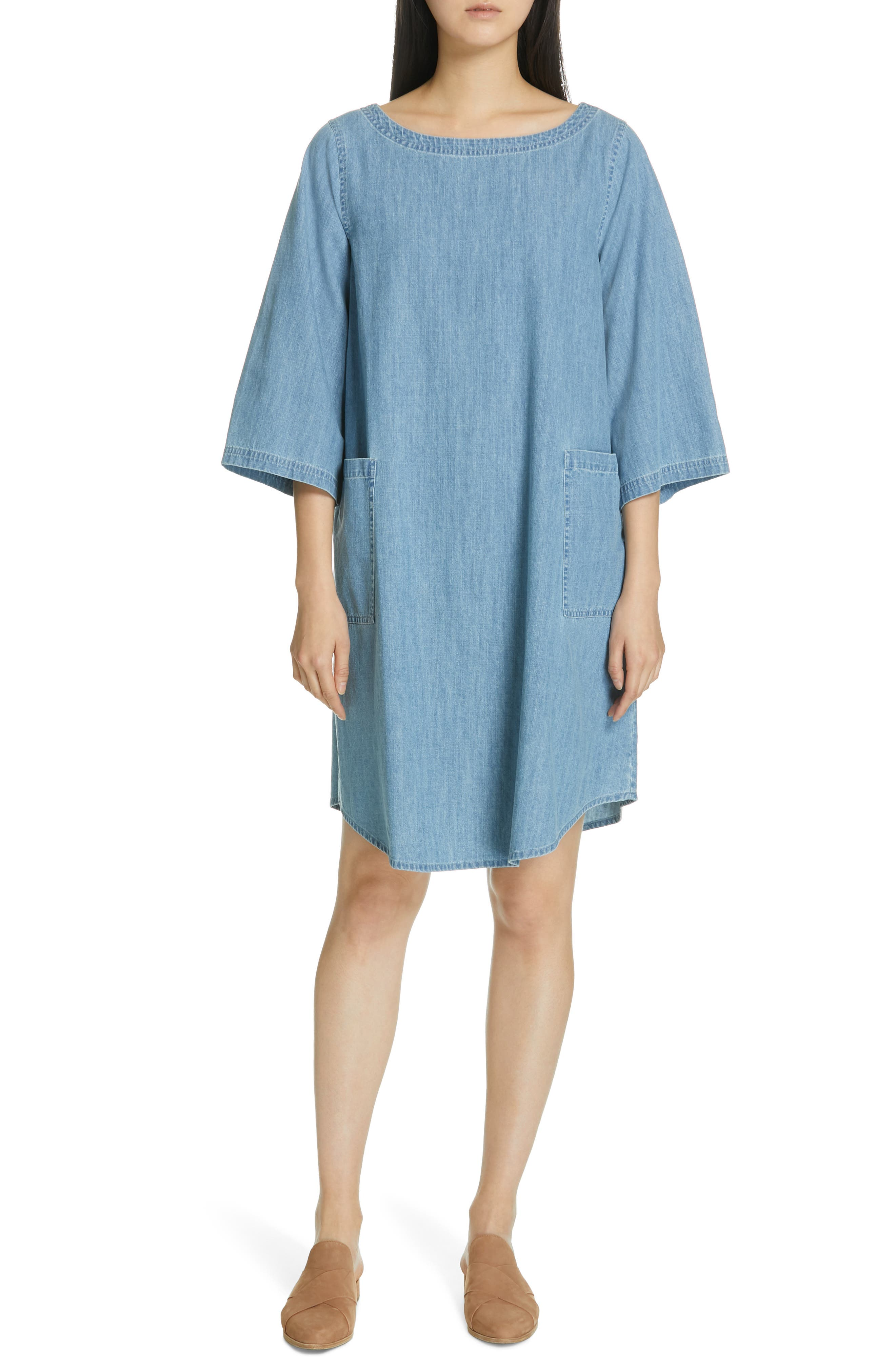 Eileen Fisher Chambray Shift Dress, Blue